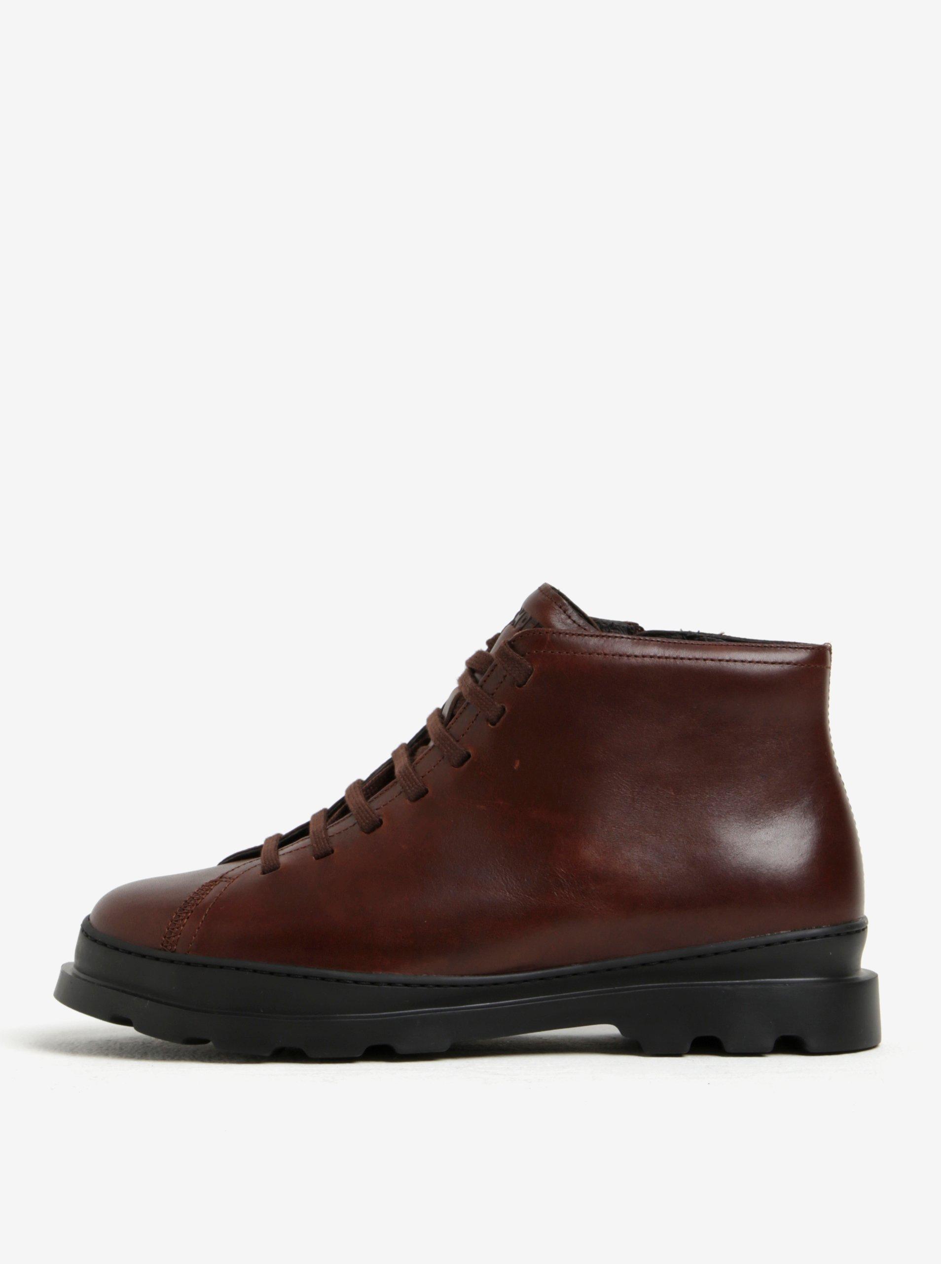 Tmavě hnědé pánské kožené kotníkové boty Camper