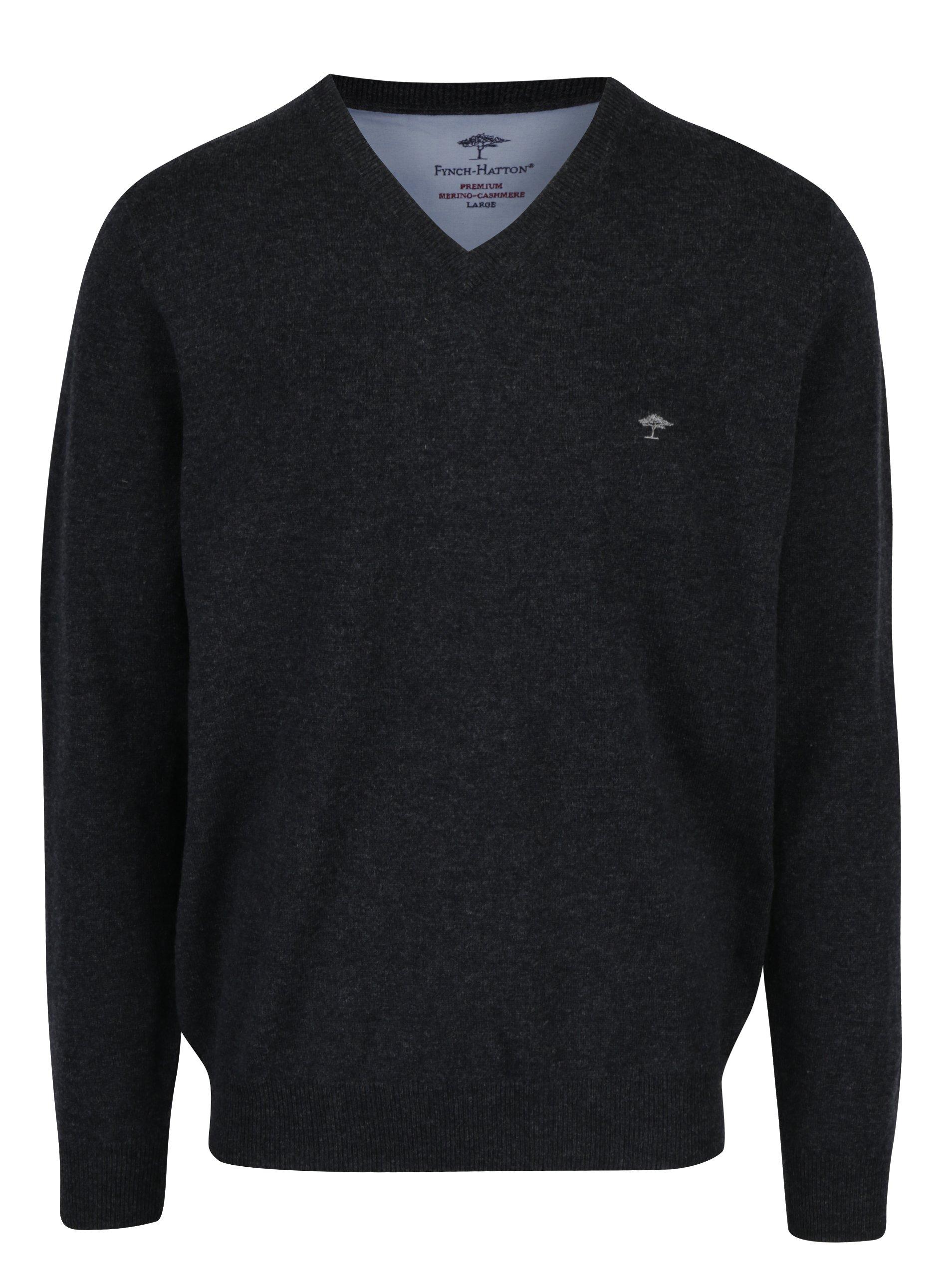 Tmavě šedý žíhaný vlněný svetr s příměsí kašmíru Fynch-Hatton