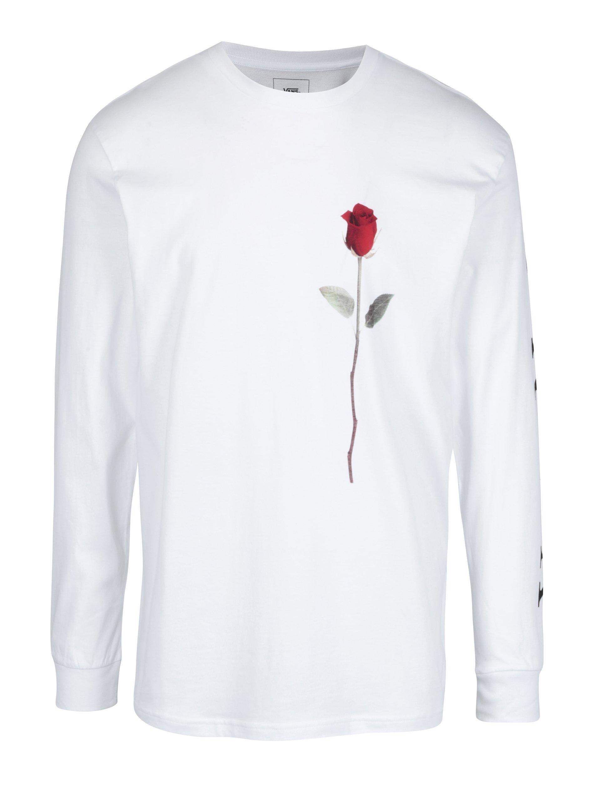 Bílé pánské tričko s potiskem růže VANS Rose