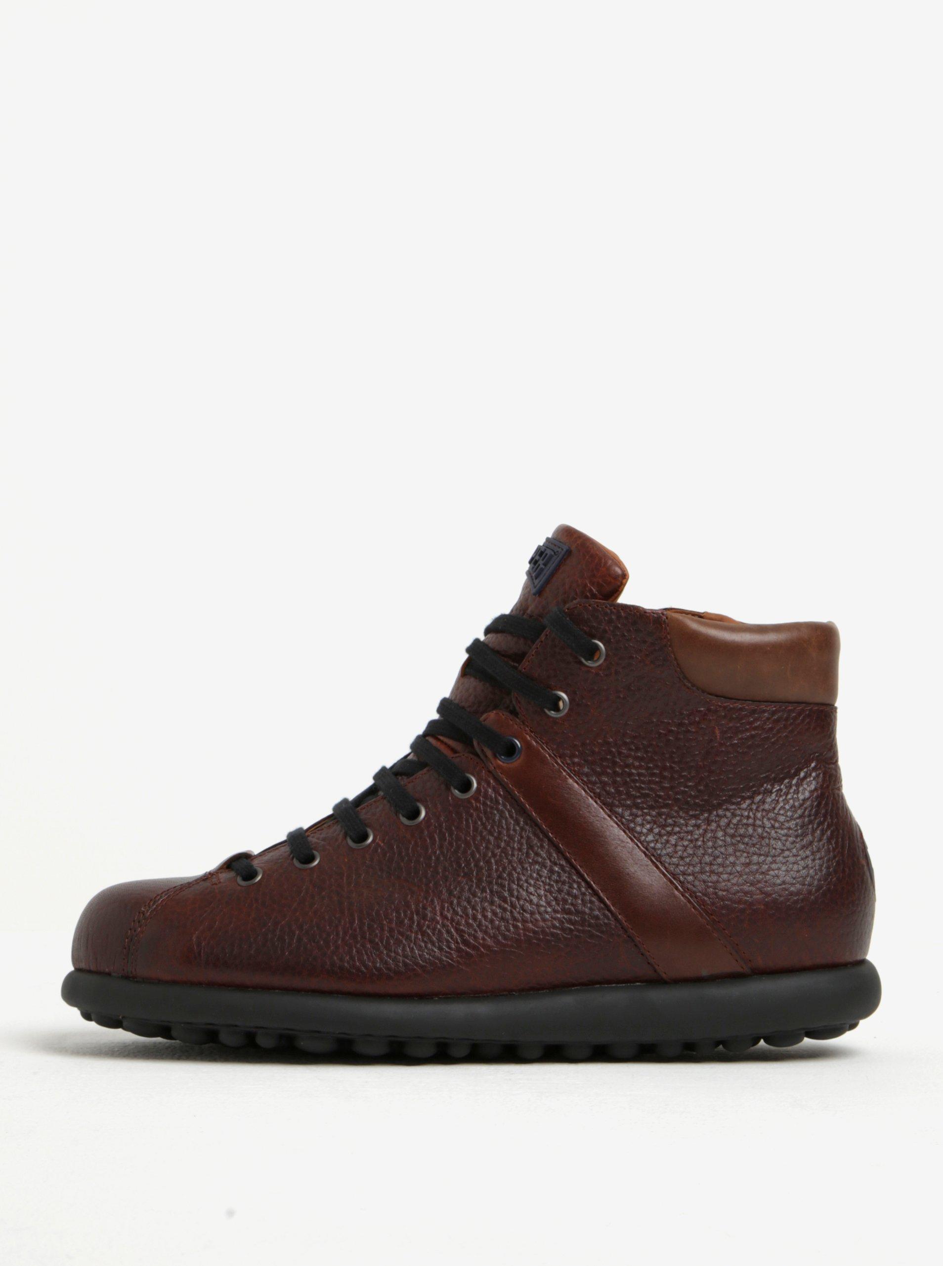 Hnědé pánské kožené kotníkové boty Camper