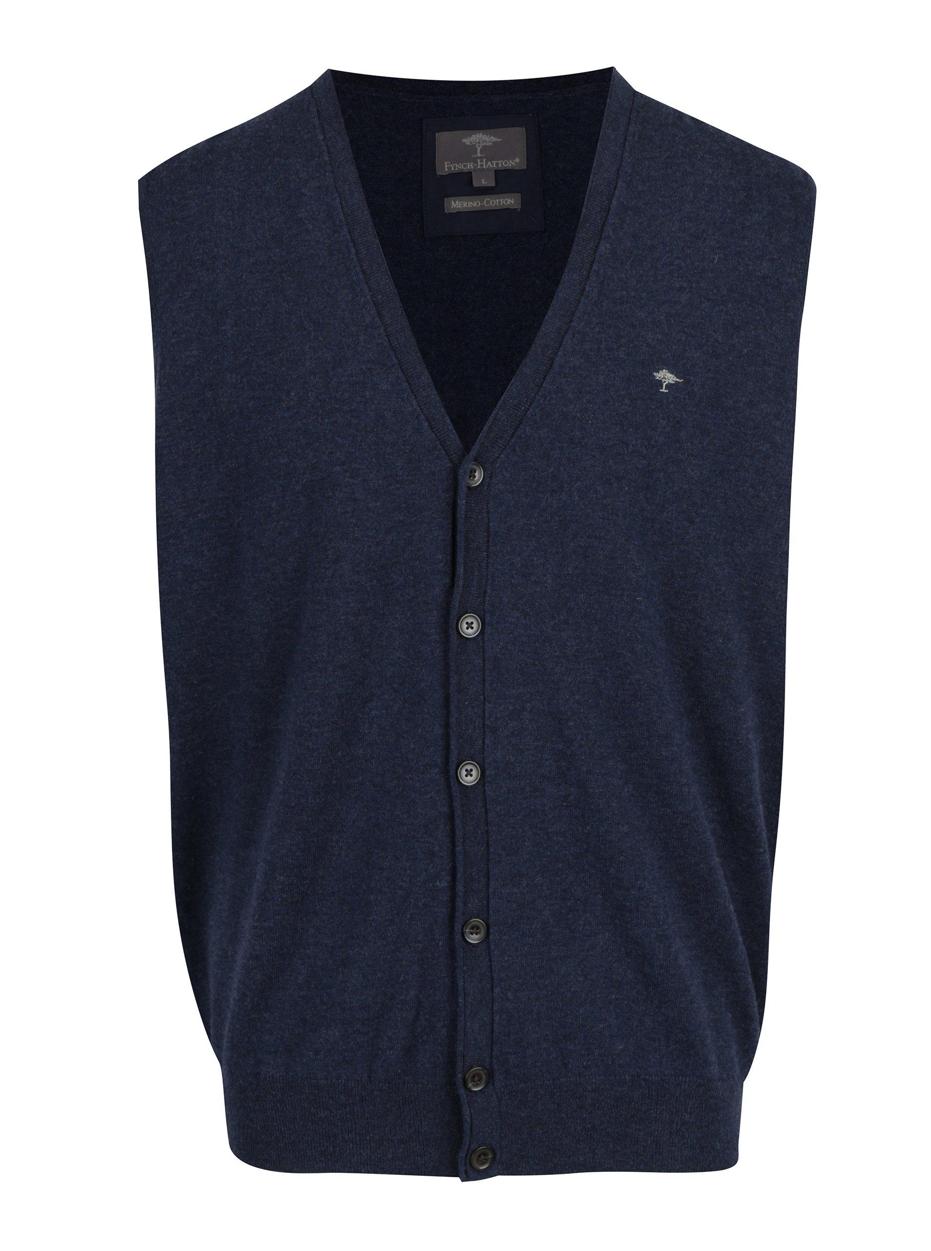 Tmavě modrá vesta z Merino vlny Fynch-Hatton