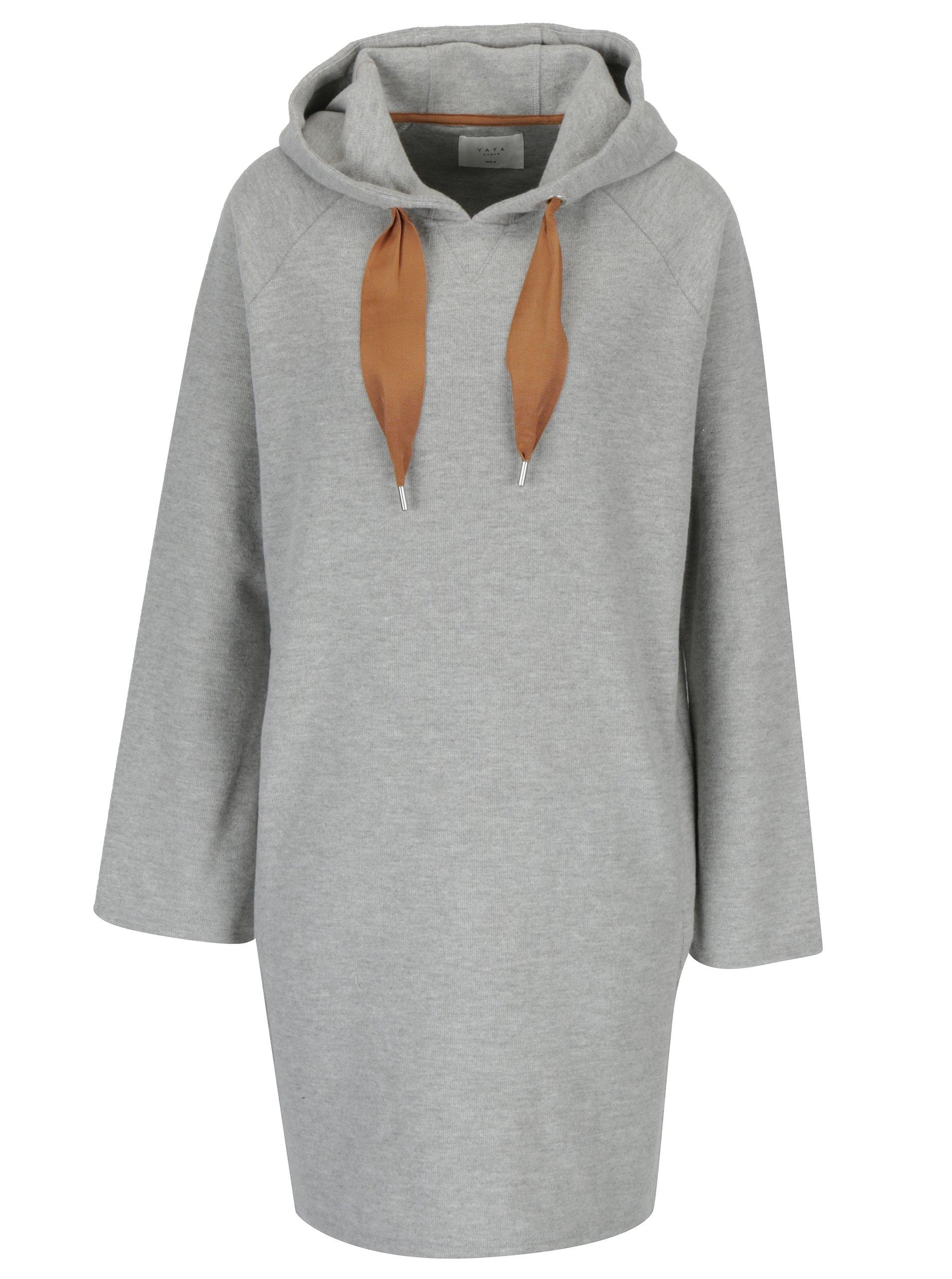 Šedé žíhané svetrové šaty s kapucí YAYA