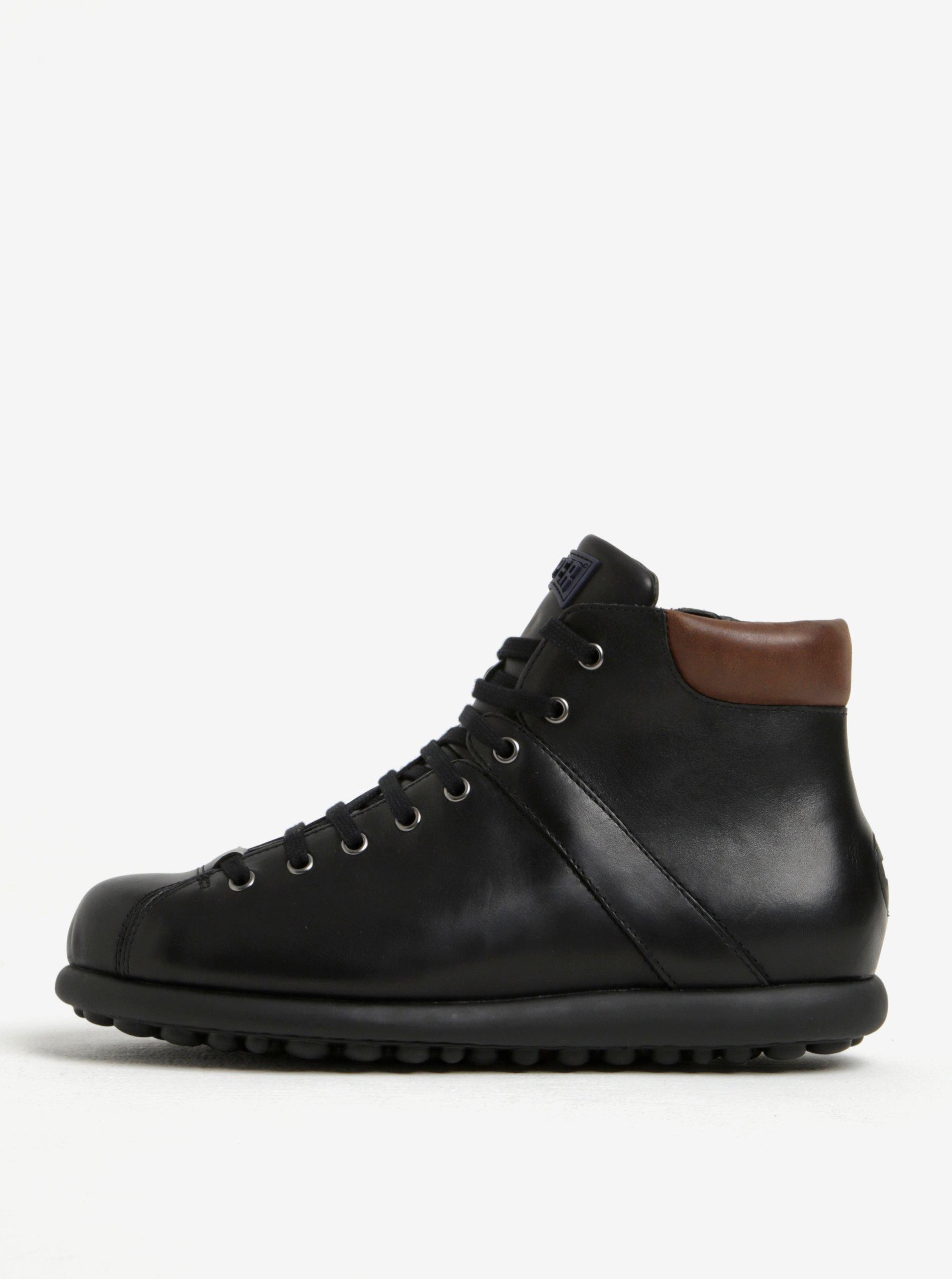 Černé pánské kožené kotníkové boty Camper