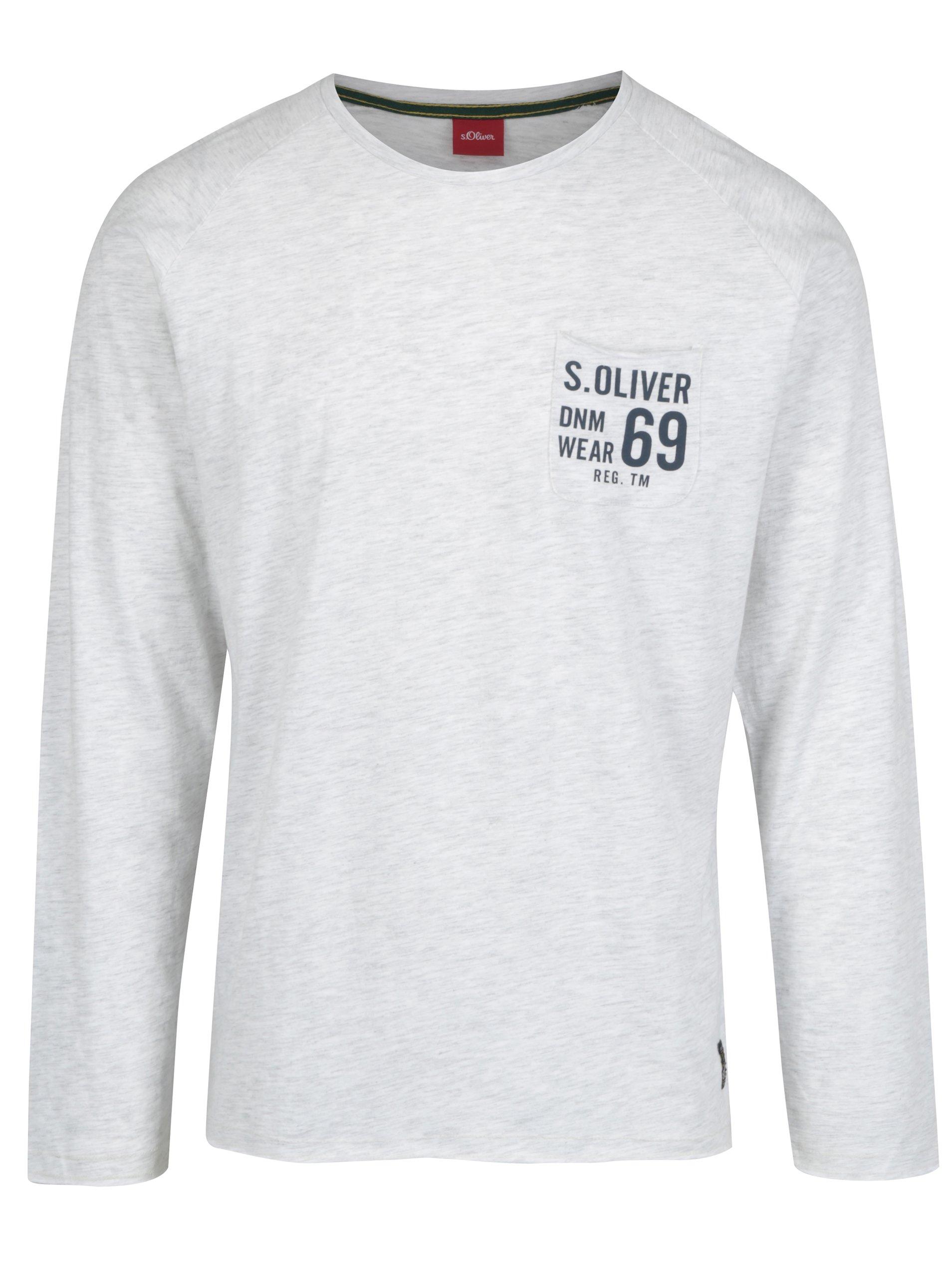 Šedé žíhané pánské slim fit tričko s dlouhým rukávem s.Oliver