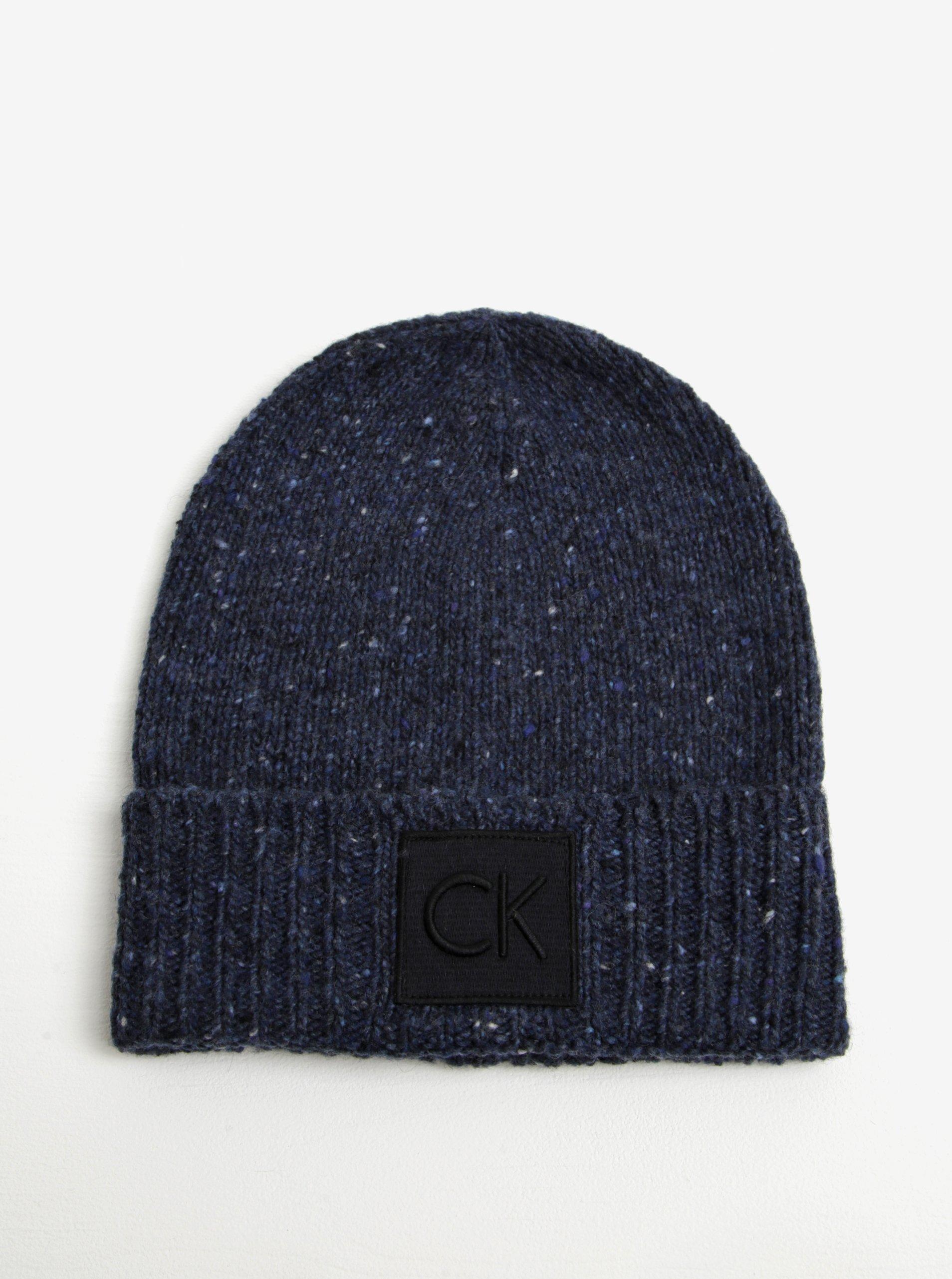 Tmavě modrá dámská žíhaná vlněná čepice Calvin Klein Eline 6ad5eb6a87