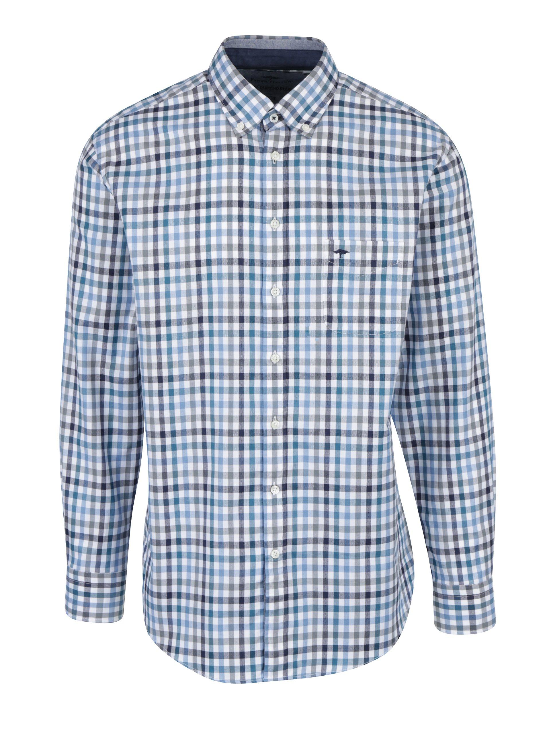 Krémovo-modrá kostkovaná košile s náprsní kapsou Fynch-Hatton