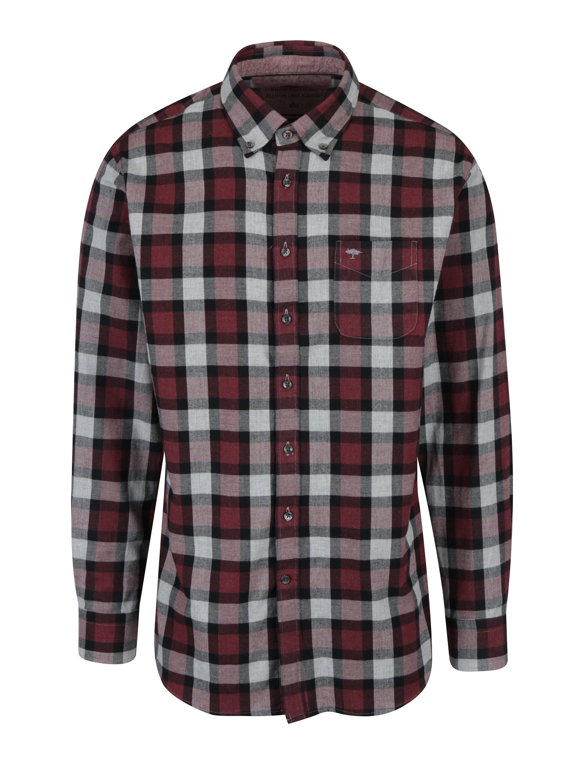 Šedo-vínová kostkovaná košile s náprsní kapsou Fynch-Hatton