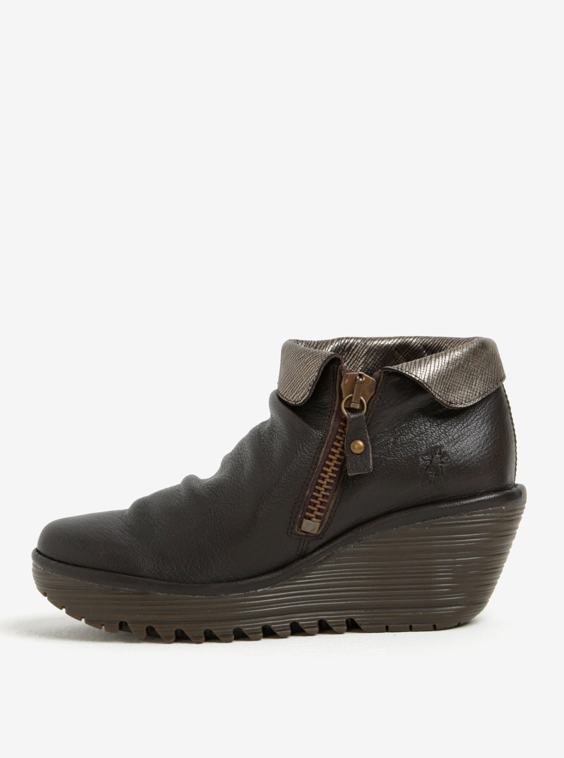 Tmavě hnědé dámské kožené kotníkové boty na klínku Fly London