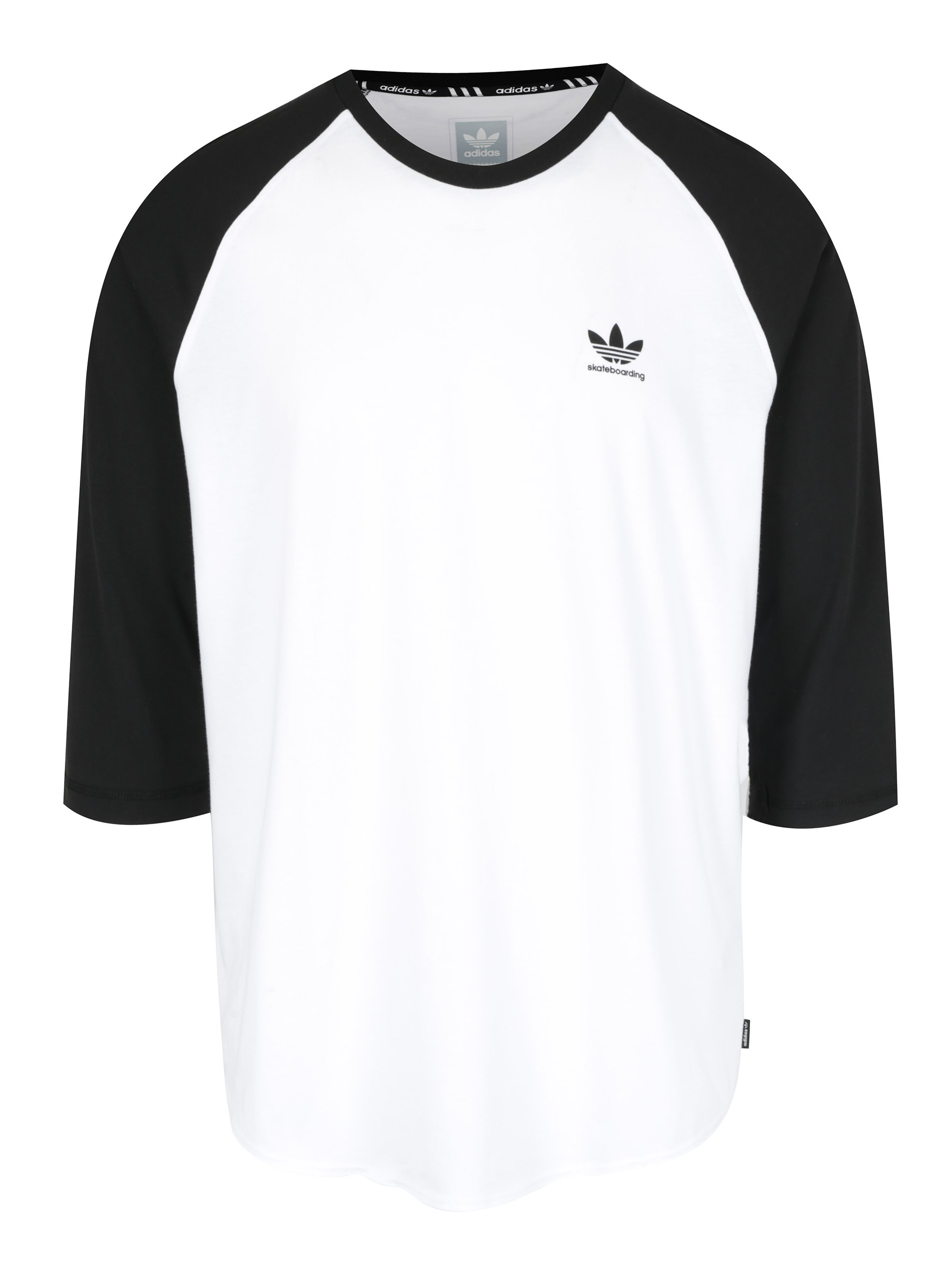 Černo-bílé pánské tričko s 3/4 rukávem adidas Originals