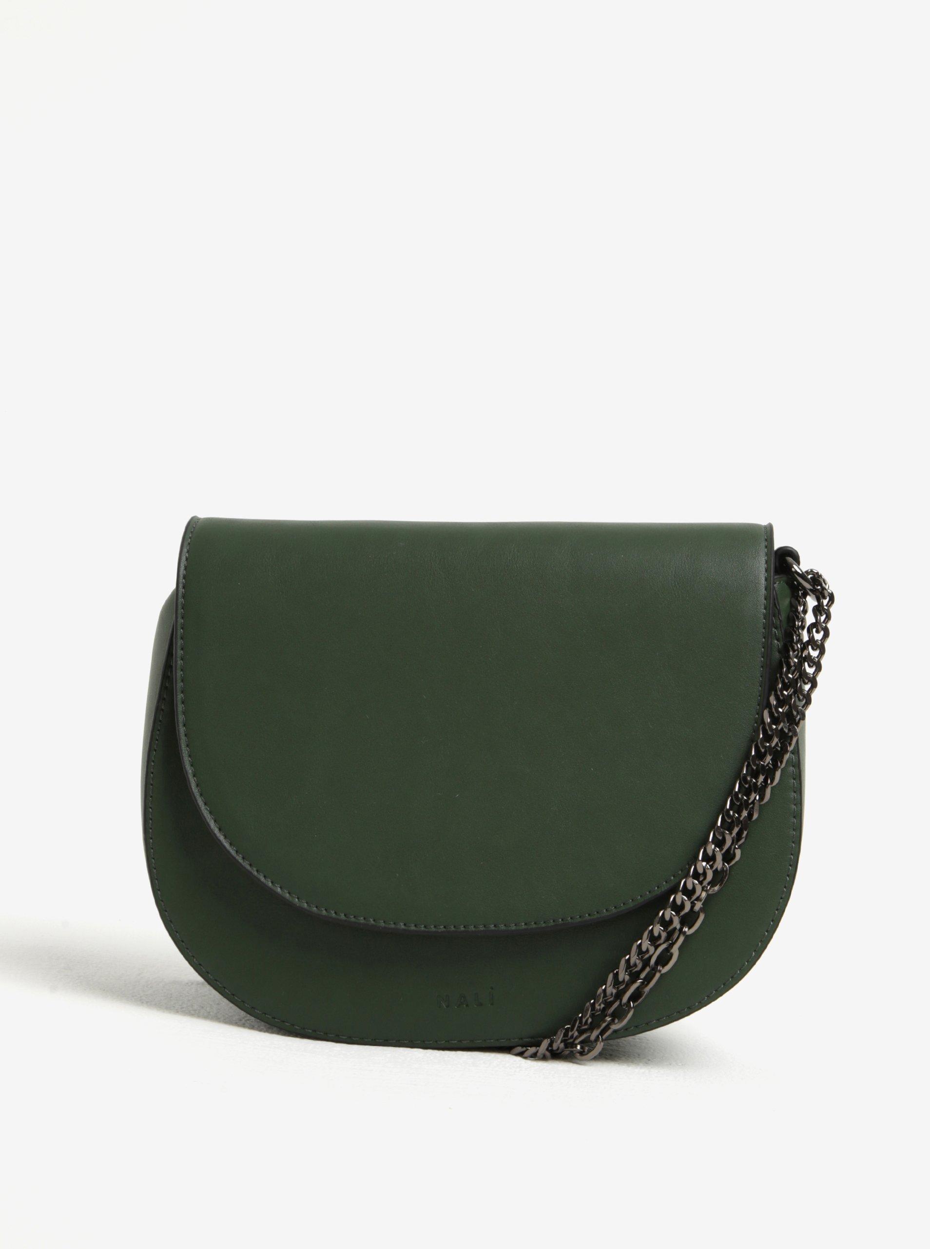 Tmavě zelená koženková crossbody kabelka s řetízkem Nalí