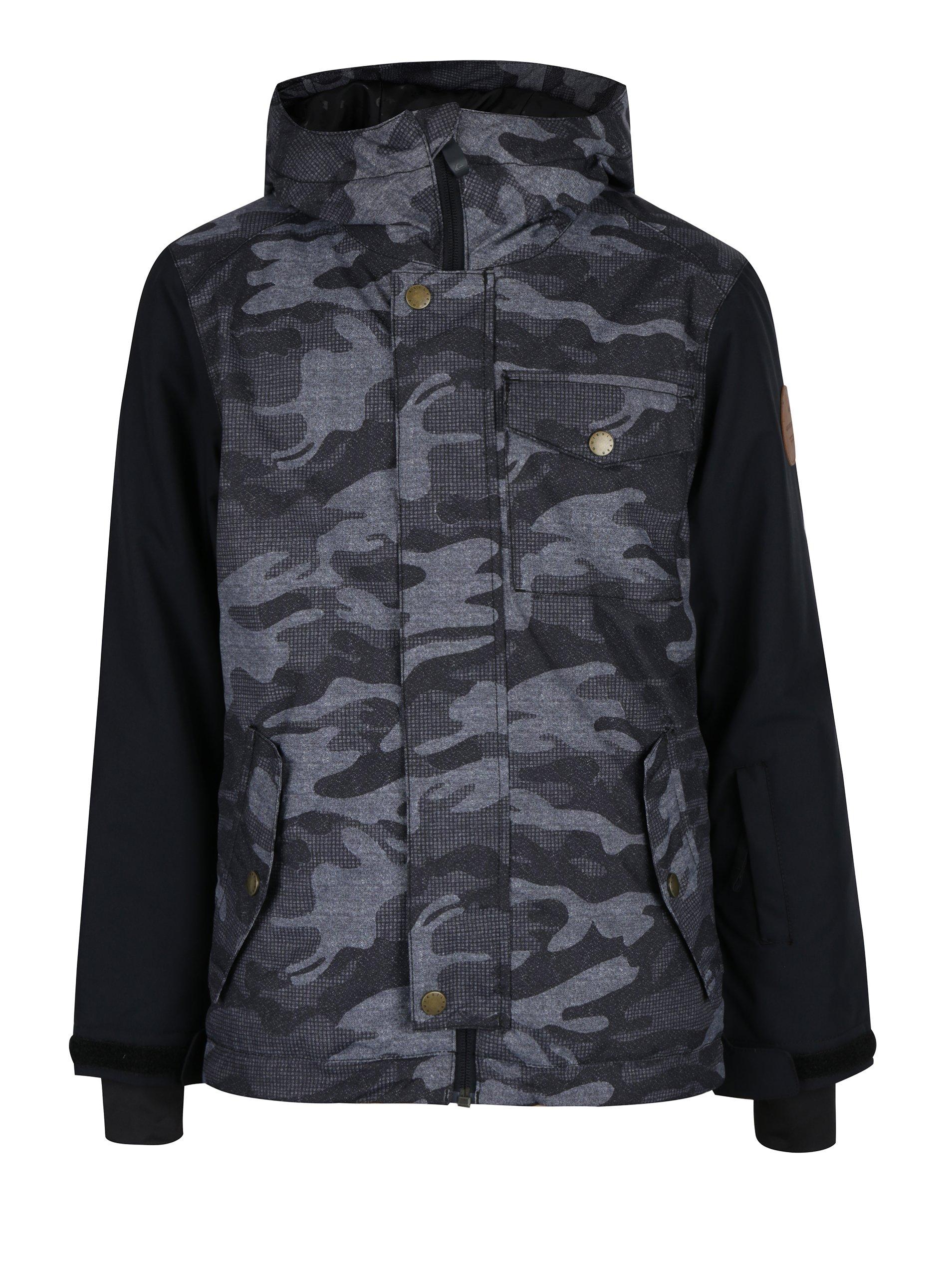 Černo- šedá vzorovaná zimní vodotěsná klučičí bunda Quiksilver