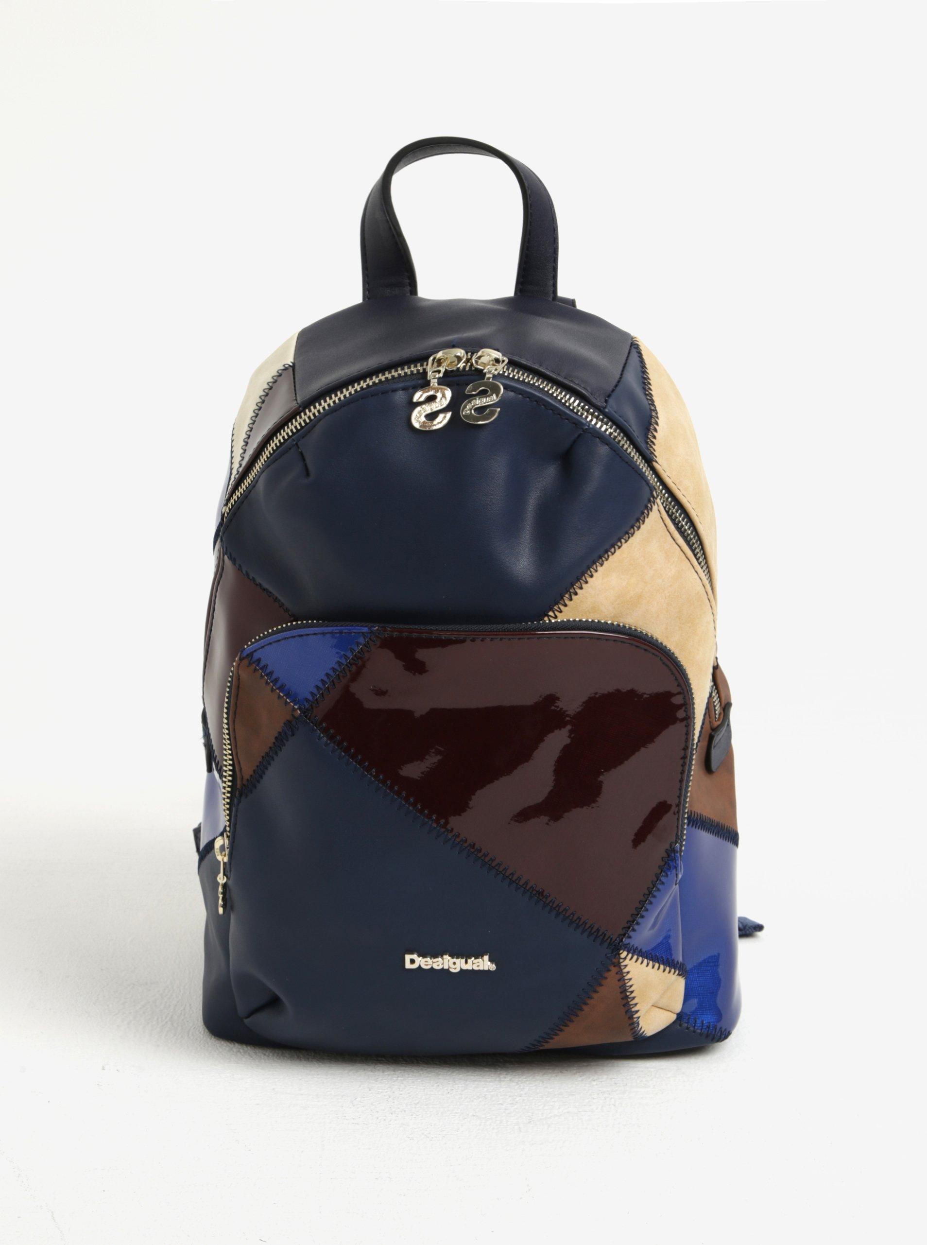 Béžovo-modrý kostkovaný batoh s lesklými detaily Desigual Lima Titan