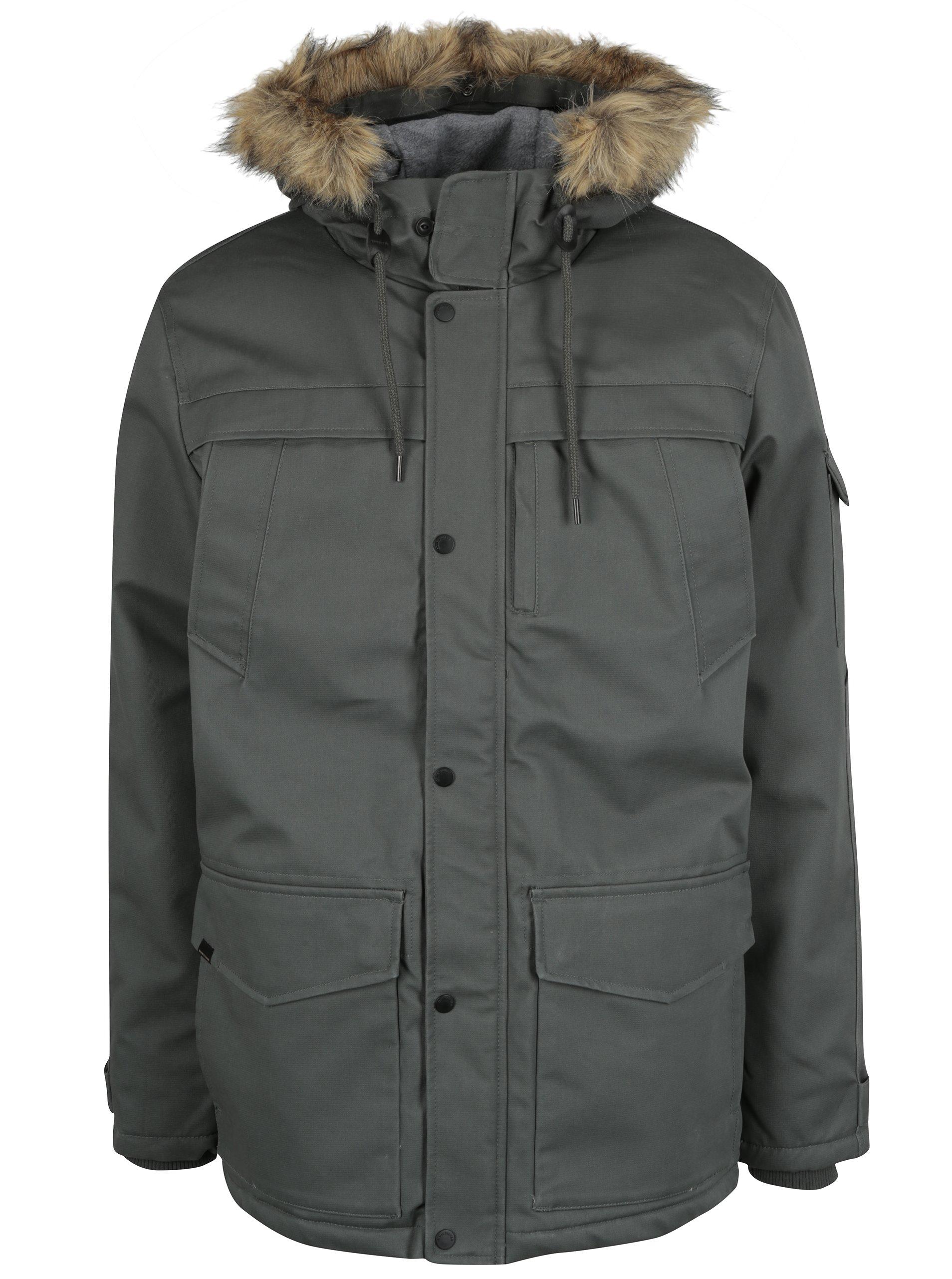 Šedá pánská zimní nepromokavá bunda Quiksilver