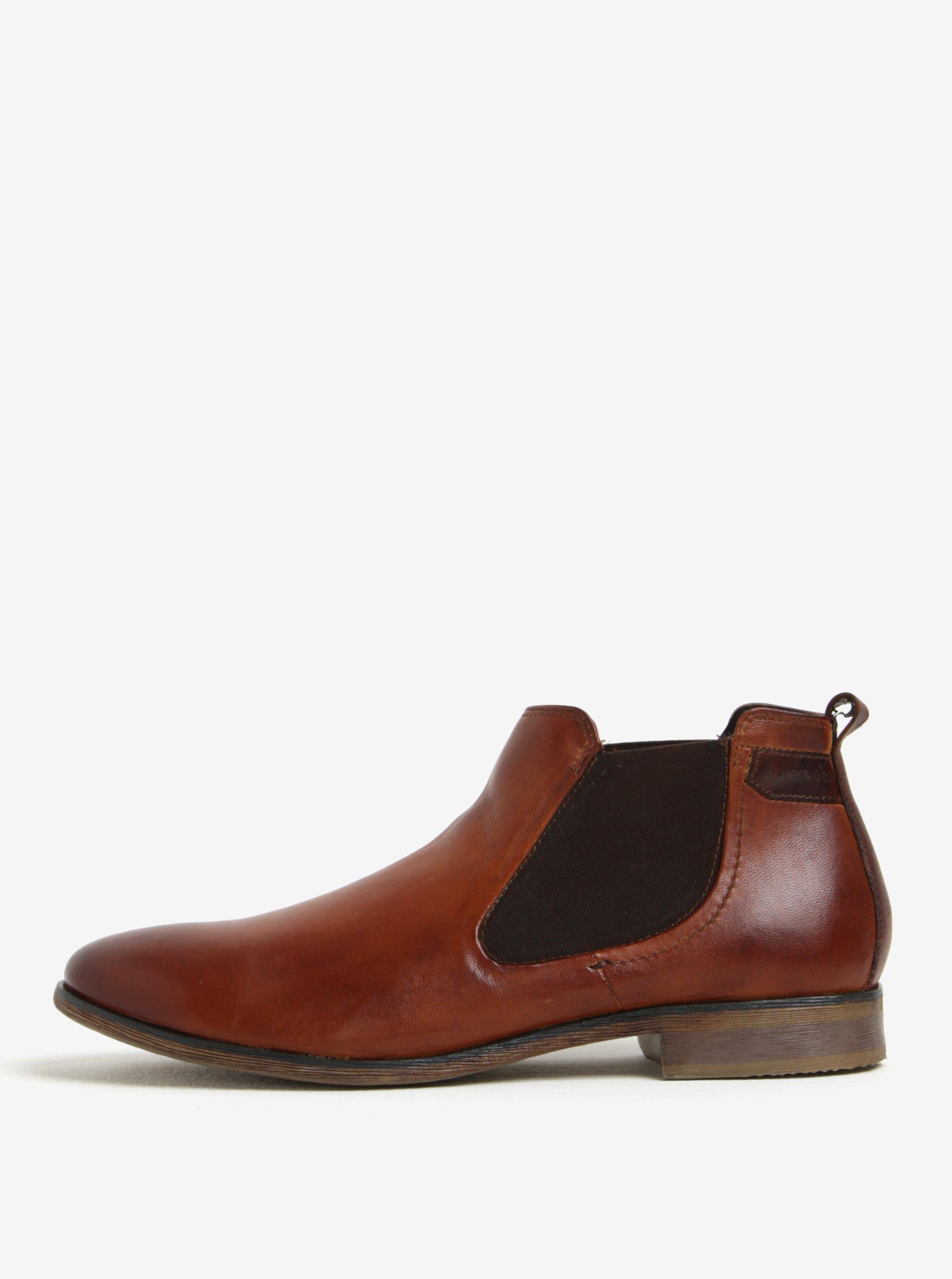 Hnědé pánské kožené chelsea boty bugatti Lothario