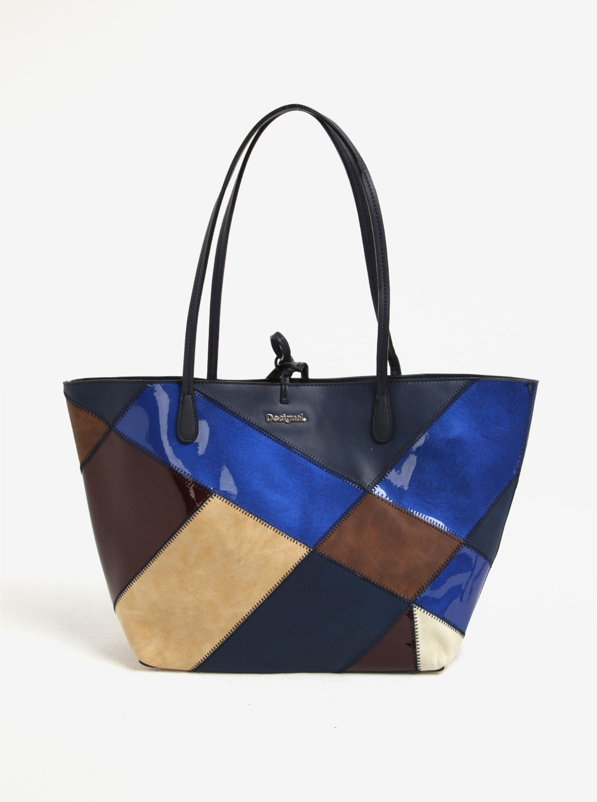 Modrý kostkovaný shopper/crossbody kabelka Desigual Capri Titan