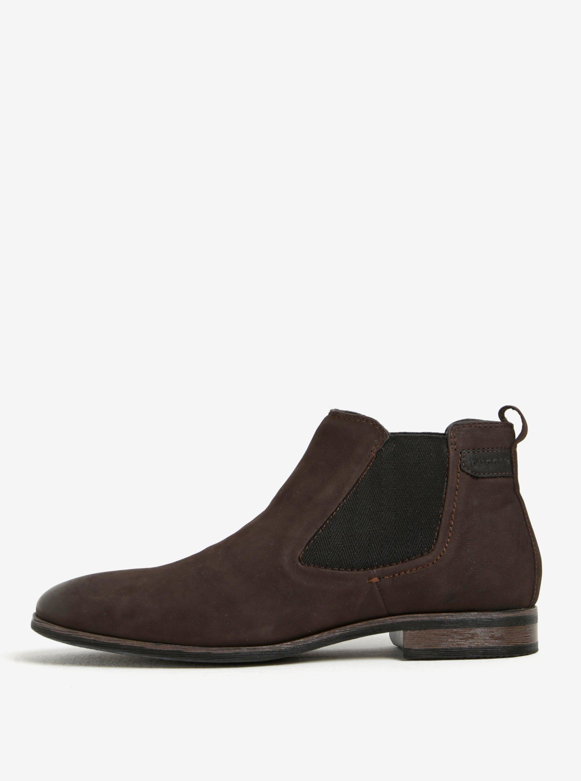 Tmavě hnědé pánské kožené chelsea boty bugatti Lothario