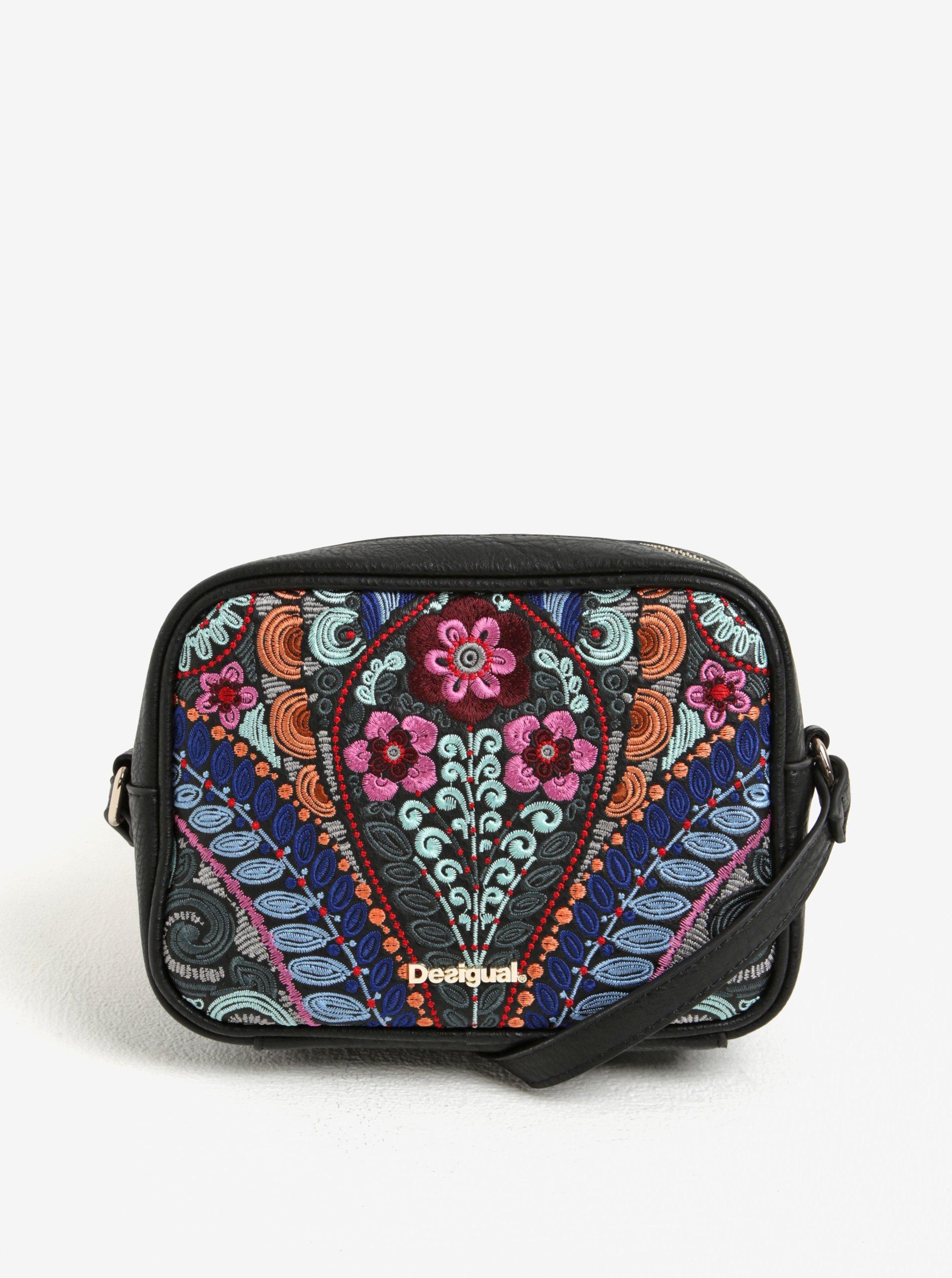 Růžovo-černá vzorovaná crossbody kabelka Desigual Charlotte Pika