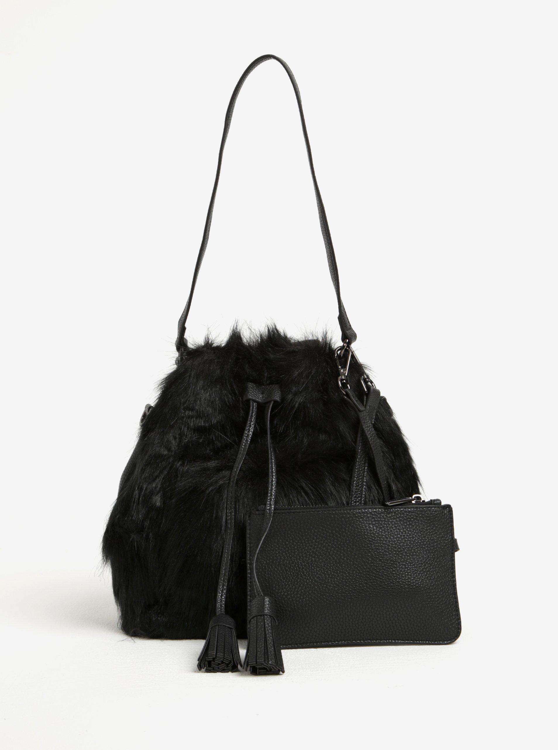 Černá kabelka s umělou kožešinou Fornarina Tulip