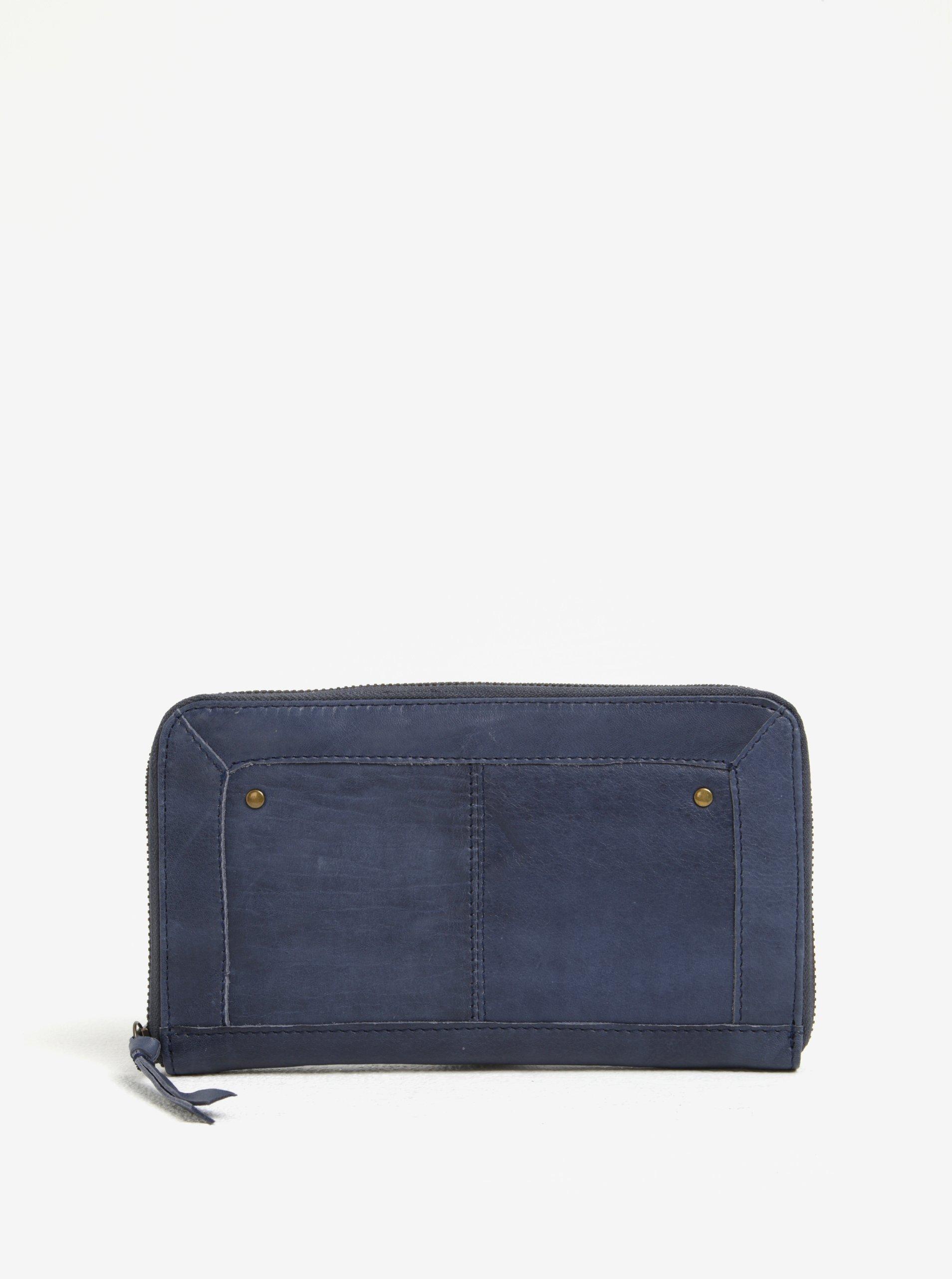 Tmavě modrá dámská kožená peněženka Pieces Vibs