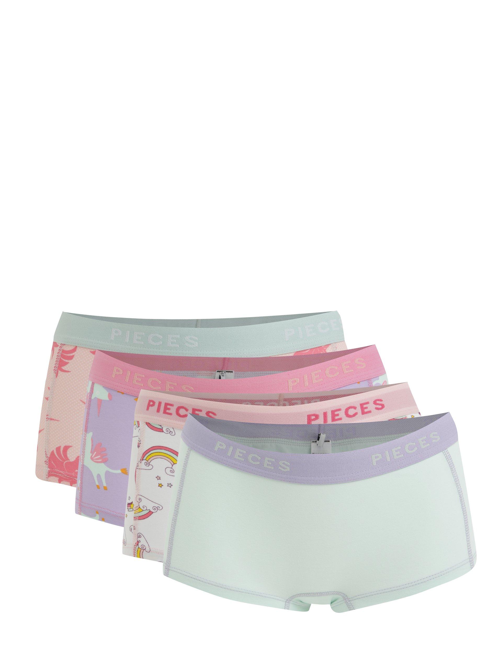 Sada čtyř dámských boxerek v růžové a zelené barvě Pieces Logo