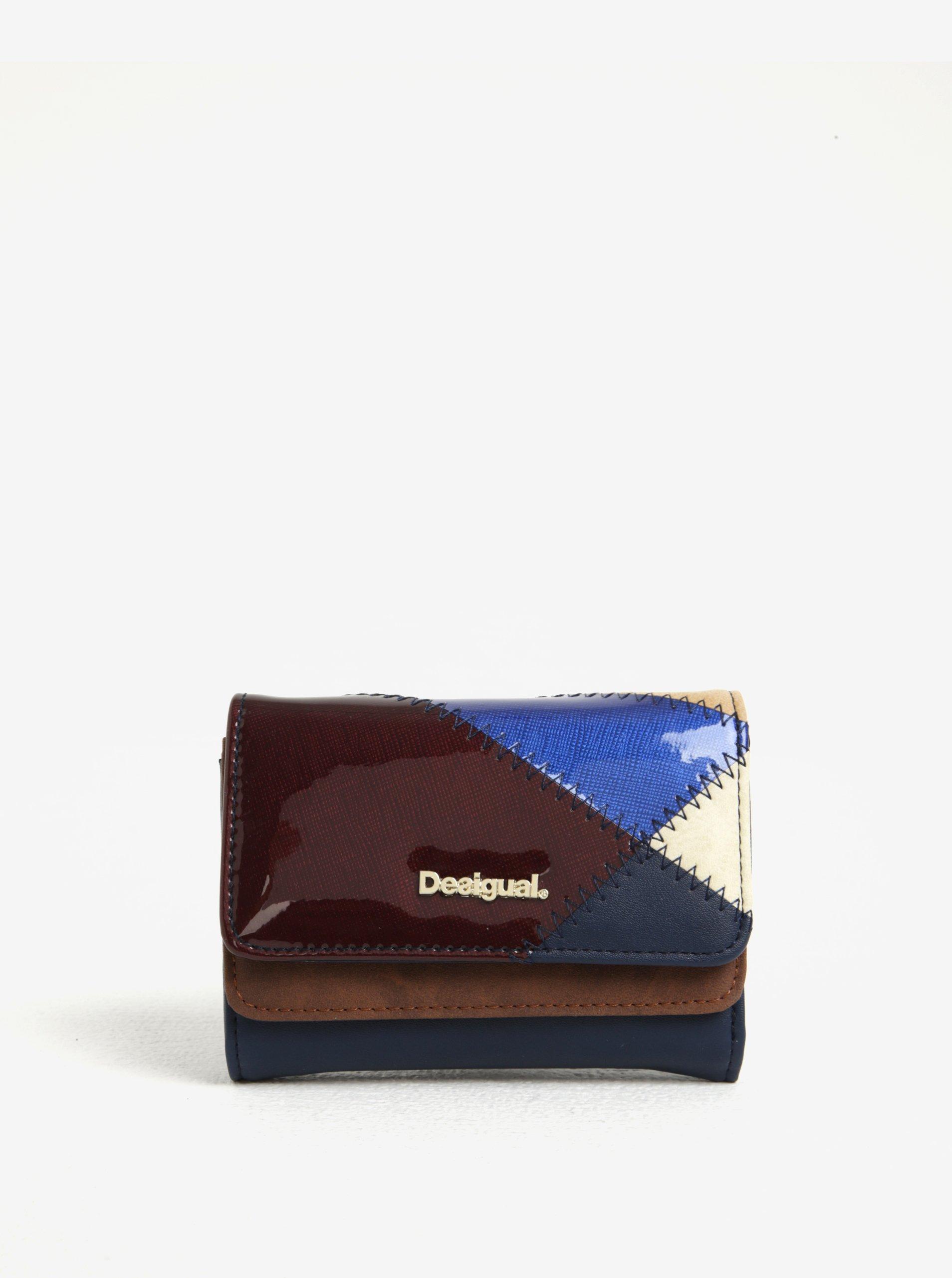 Vínovo-modrá vzorovaná peněženka s lesklými detaily Desigual Titan Mix
