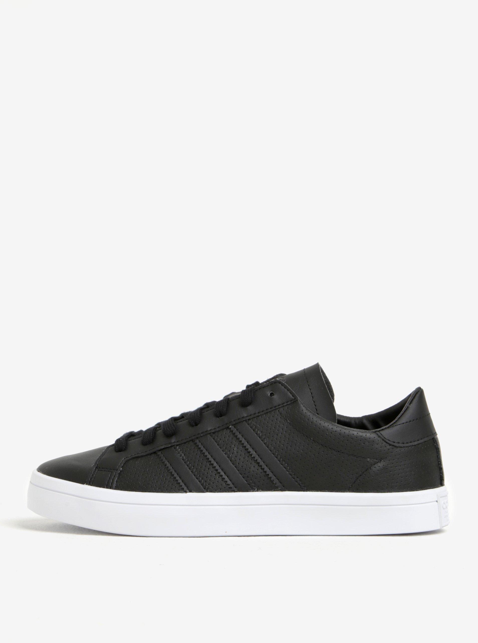 Černé pánské kožené tenisky adidas Originals Courtvantage