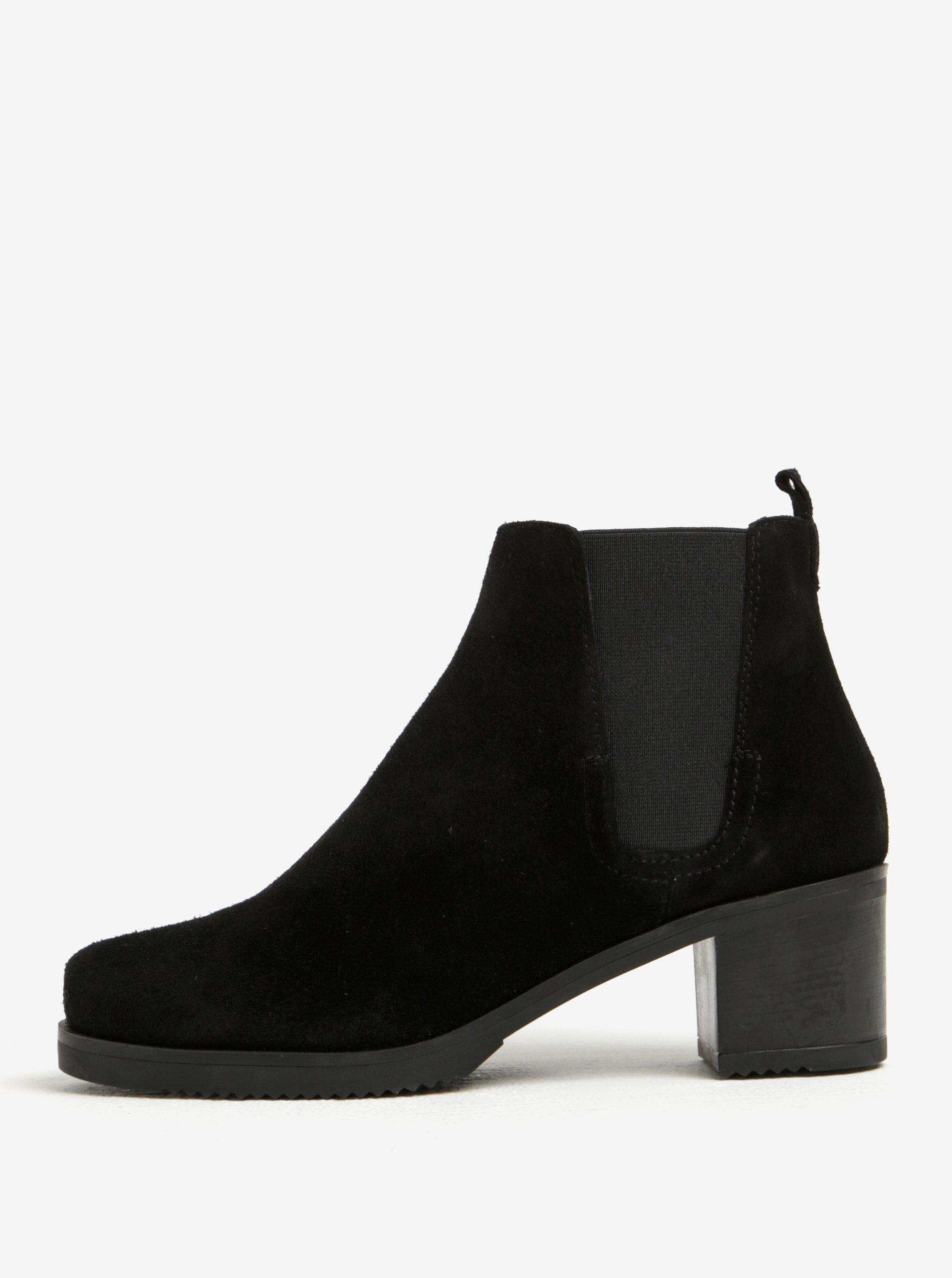 Černé semišové chelsea boty na podpatku OJJU