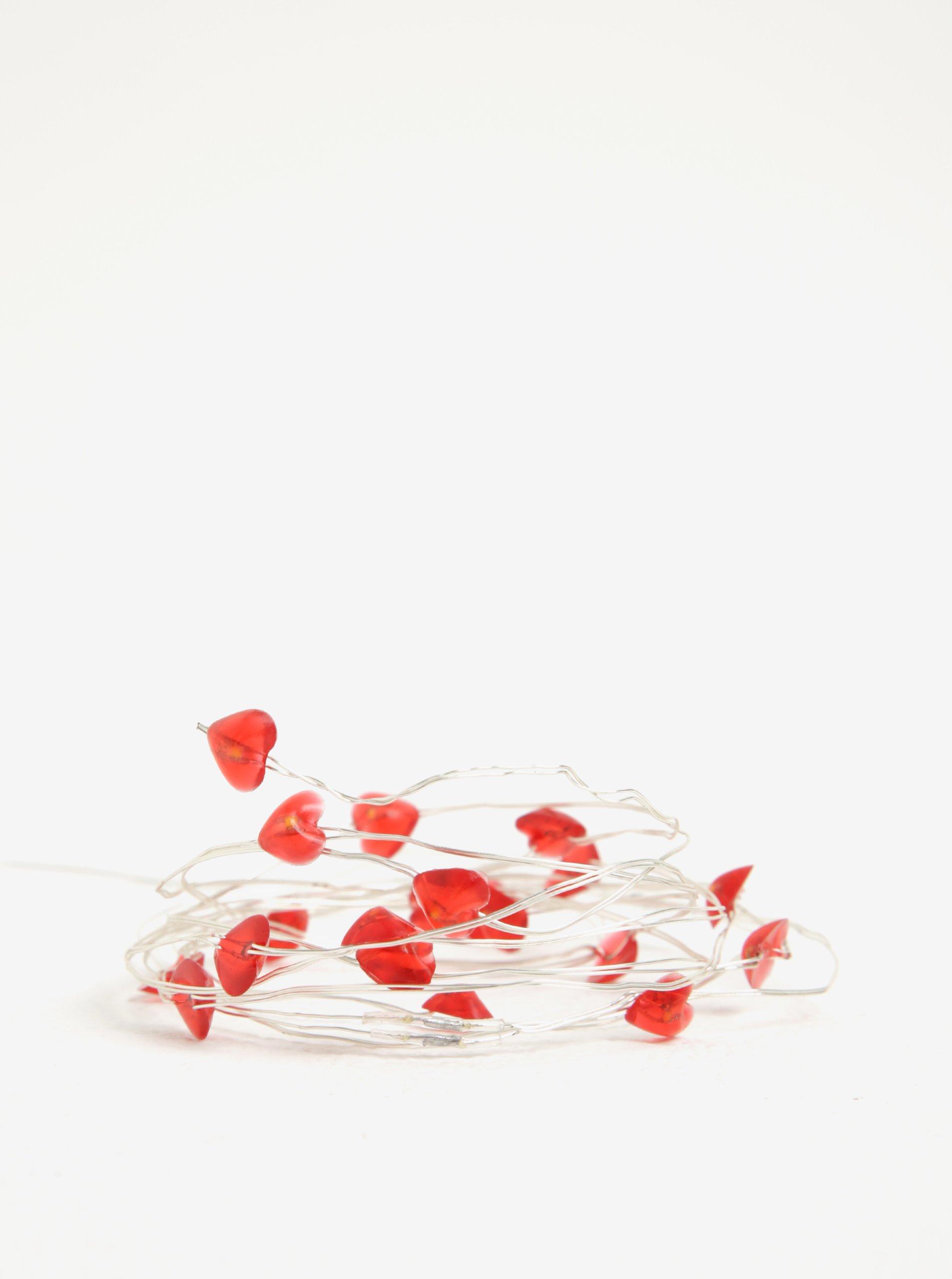 Červený led světelný řetěz se srdíčky BUTLERS