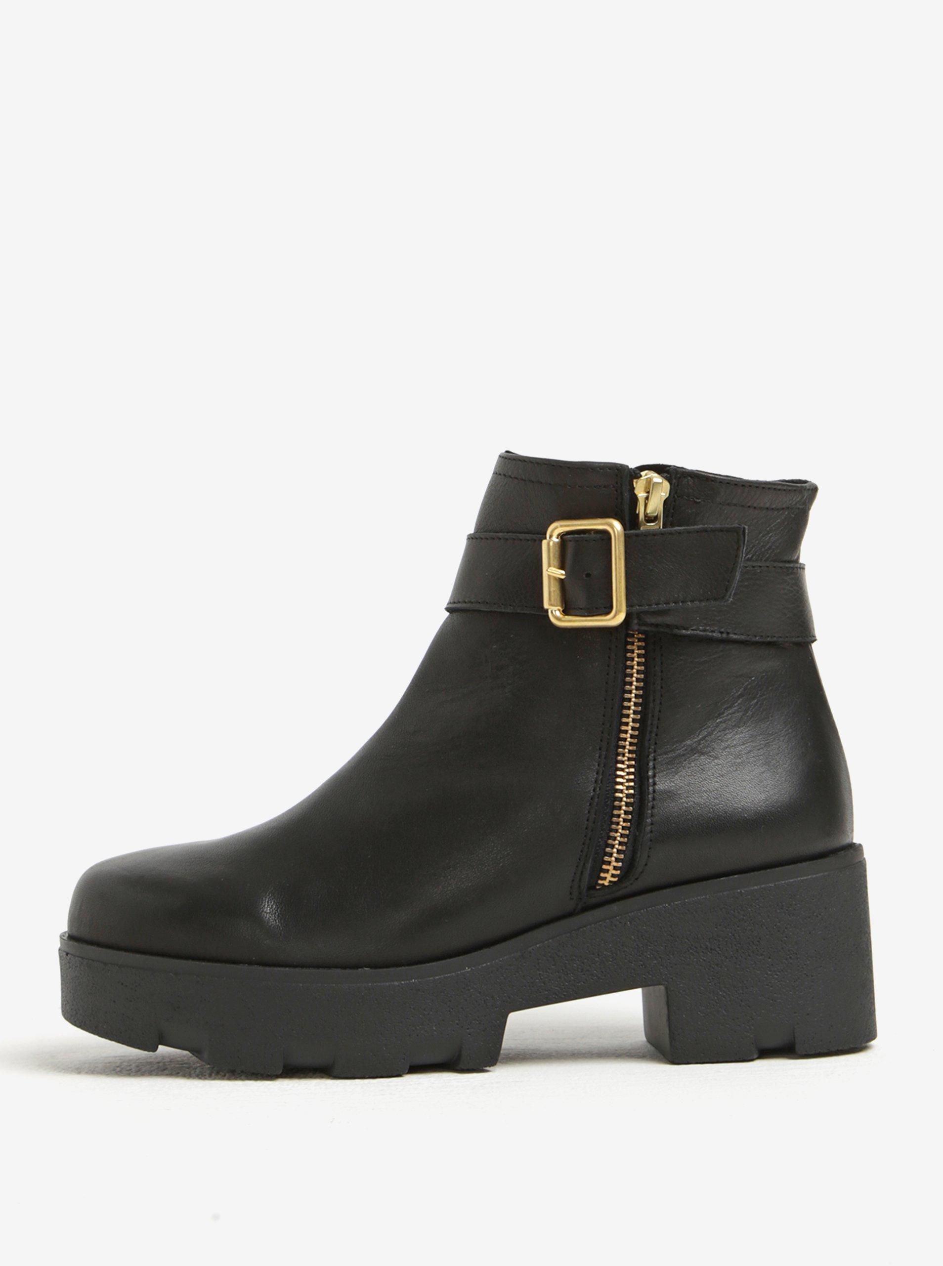 6747dc3141 Čierne kožené členkové topánky na platforme OJJU