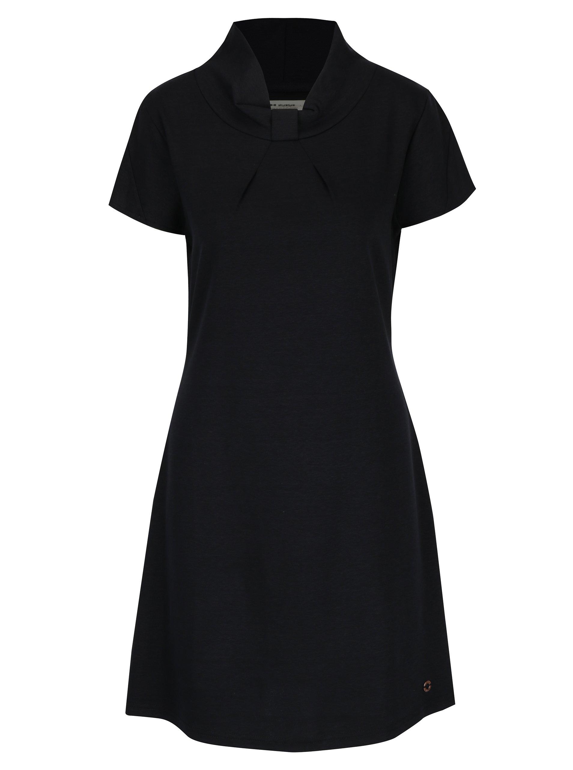 Černé volné šaty s krátkým rukávem Skunkfunk