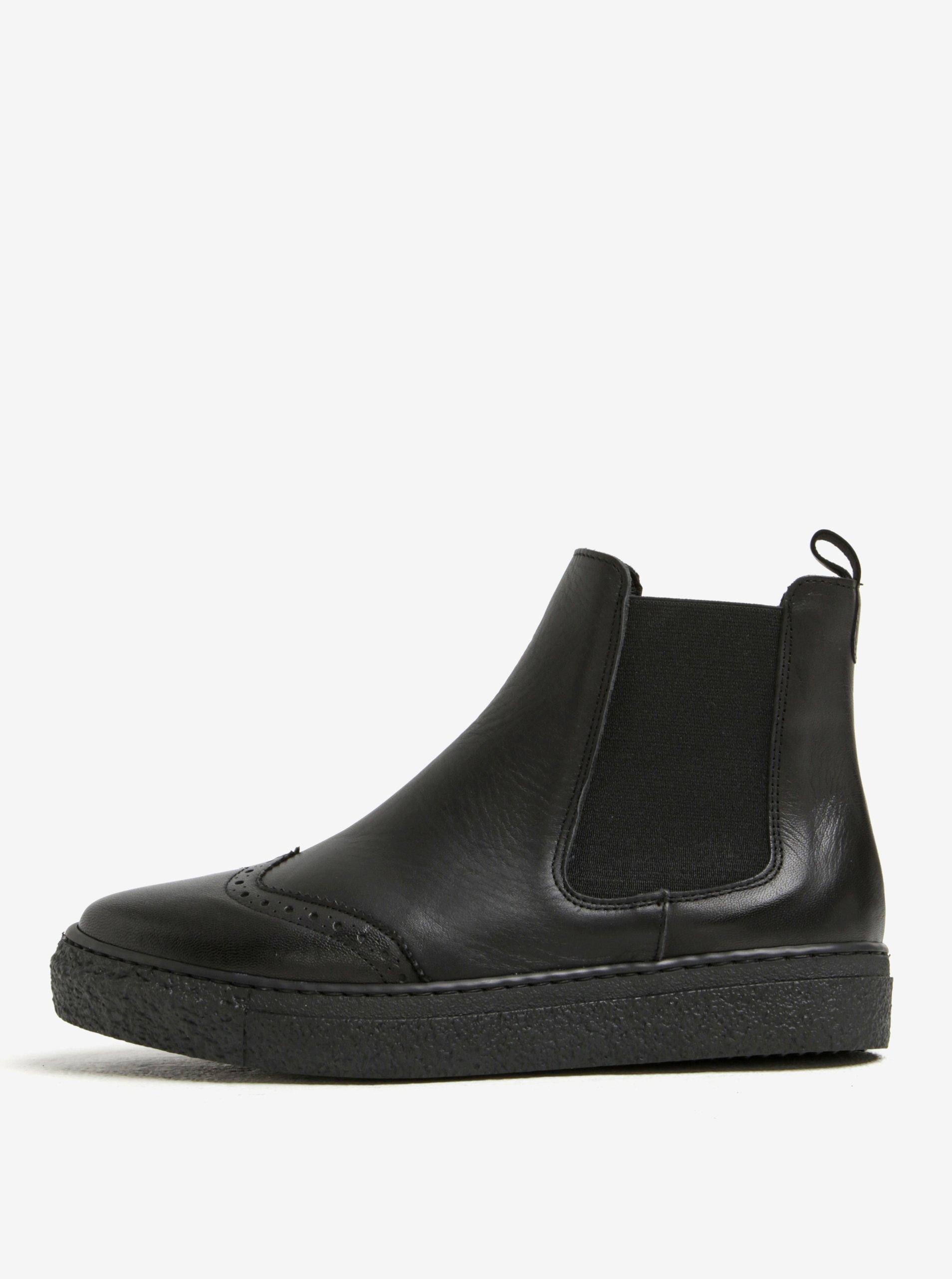 Černé kožené chelsea boty na platformě OJJU