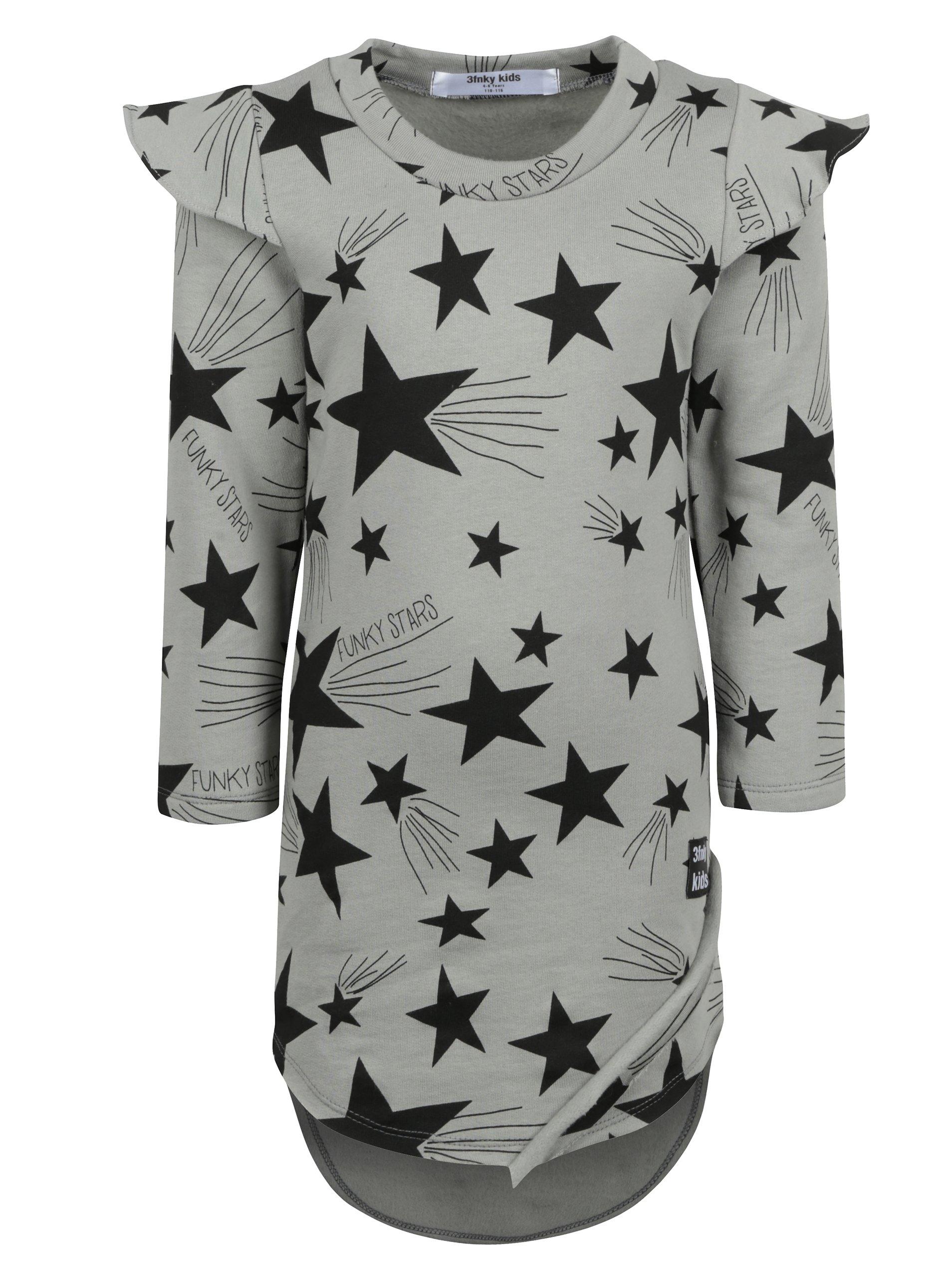 Šedé holčičí šaty s motivem hvězd a dlouhým rukávem 3fnky kids Stars