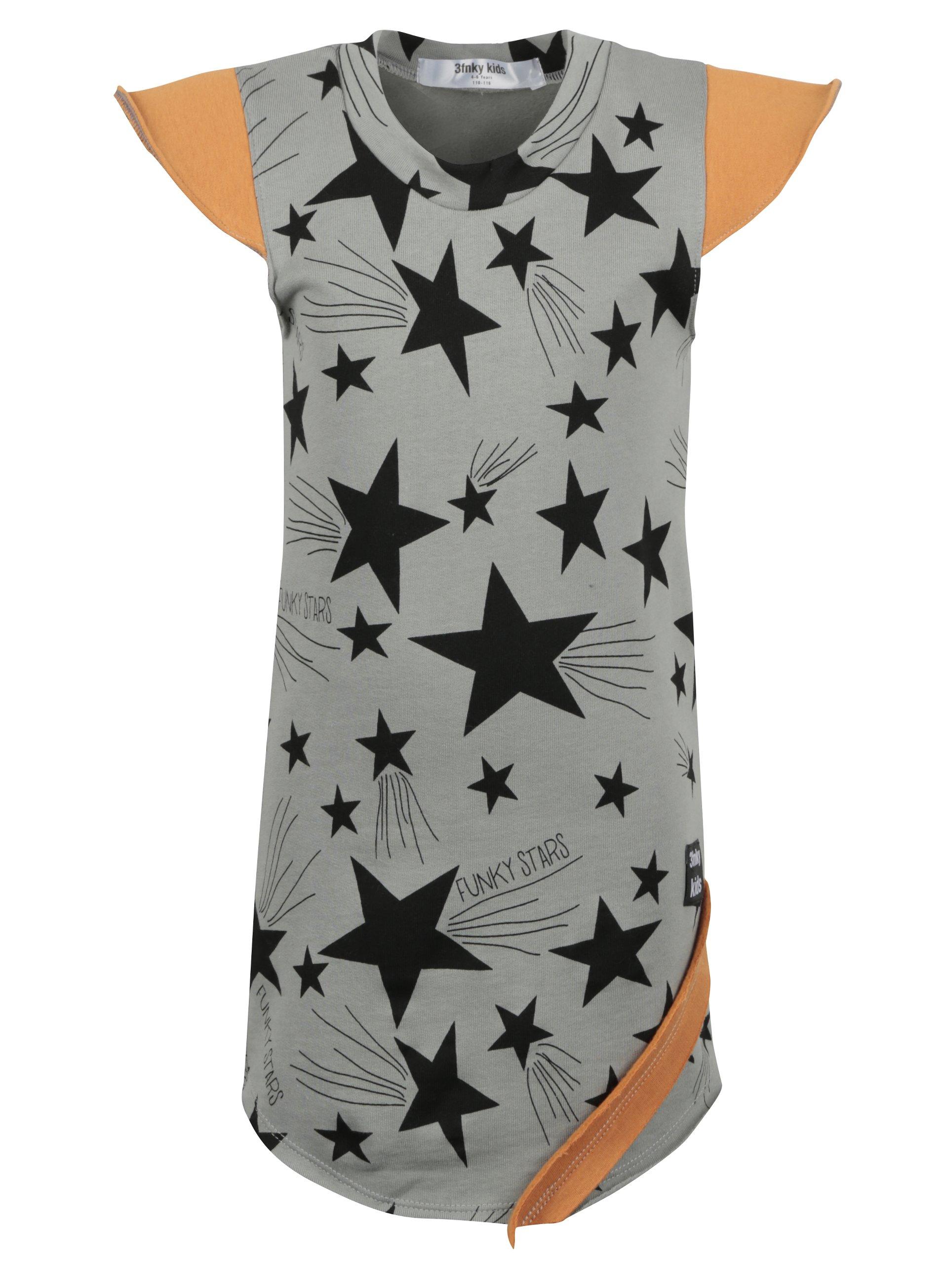 Šedé holčičí šaty s motivem hvězd a oranžovými detaily 3fnky kids Stars