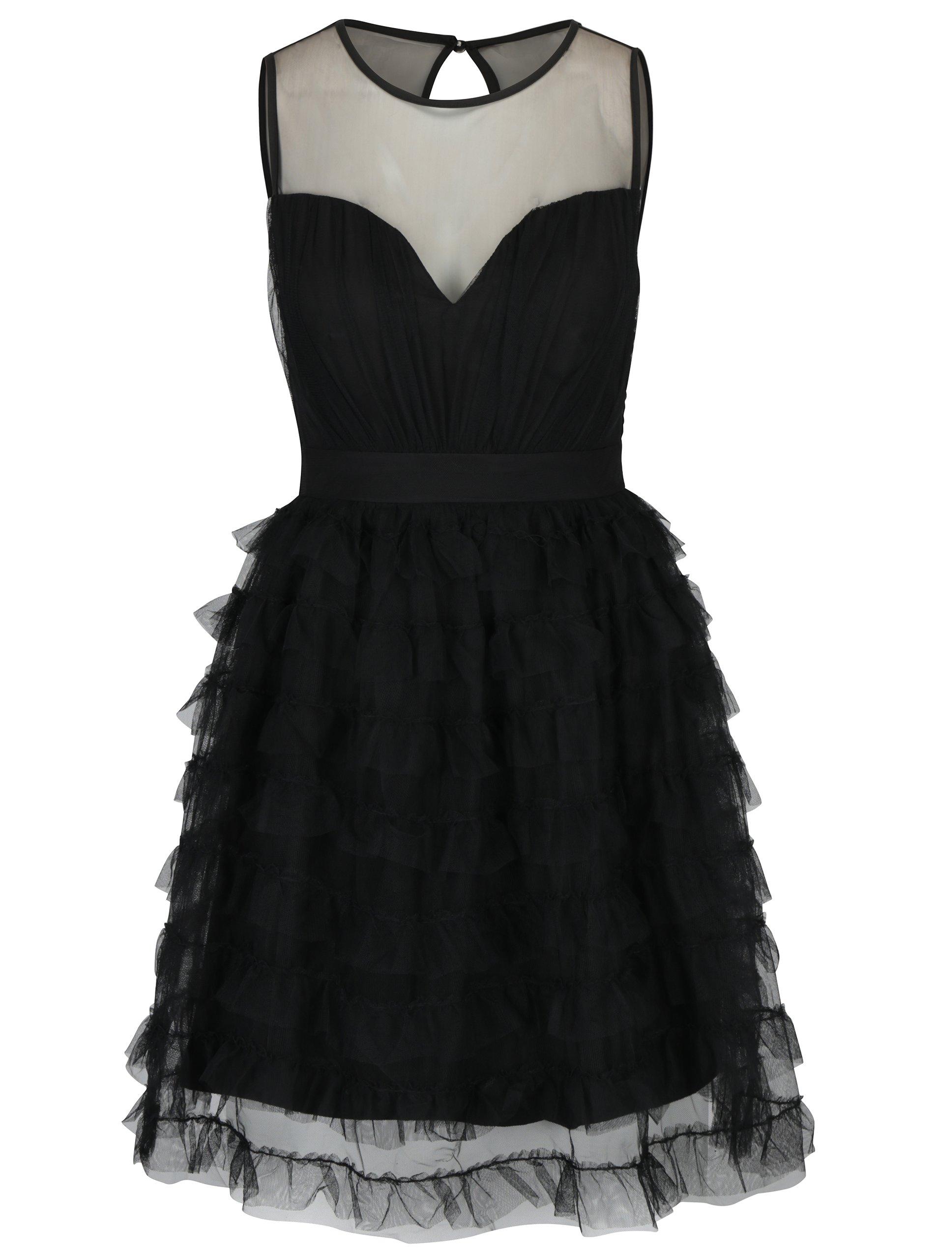 Čierne šaty s priesvitným dekoltom a tylovou sukňou Little Mistress