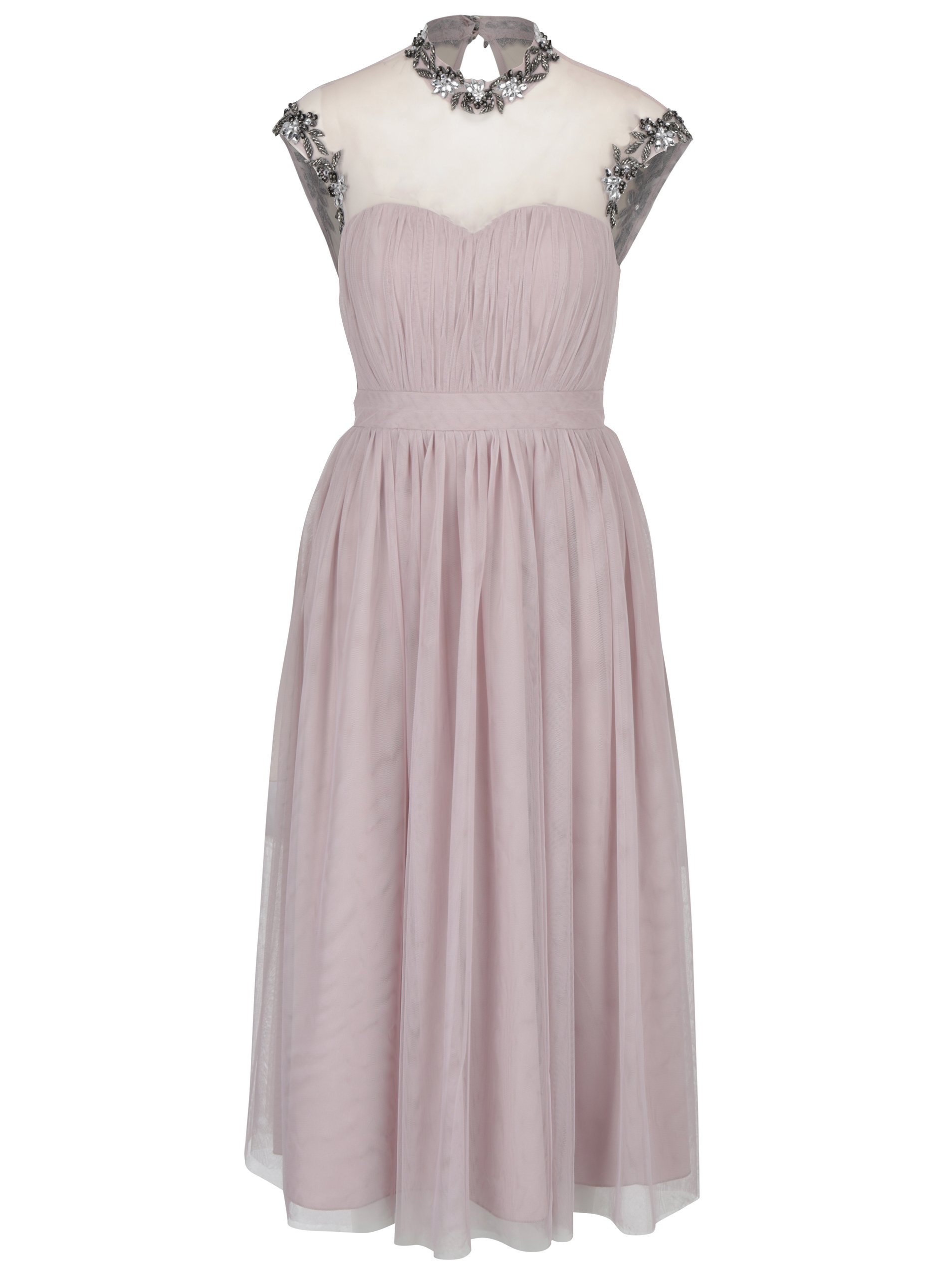 Starorůžové šaty s průsvitným dekoltem a výšivkou Little Mistress