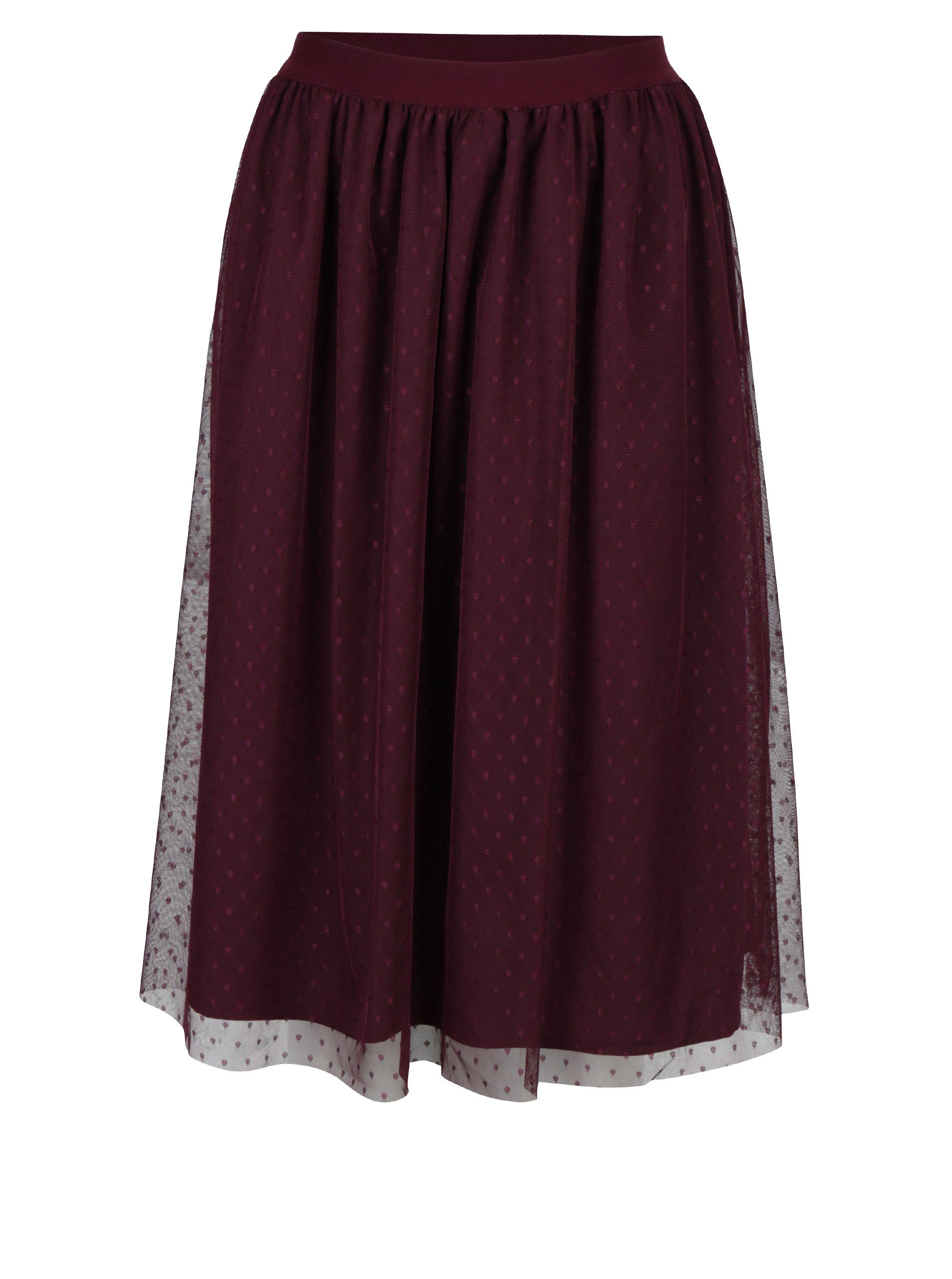 Vínová tylová sukně s gumou v pase Little Mistress