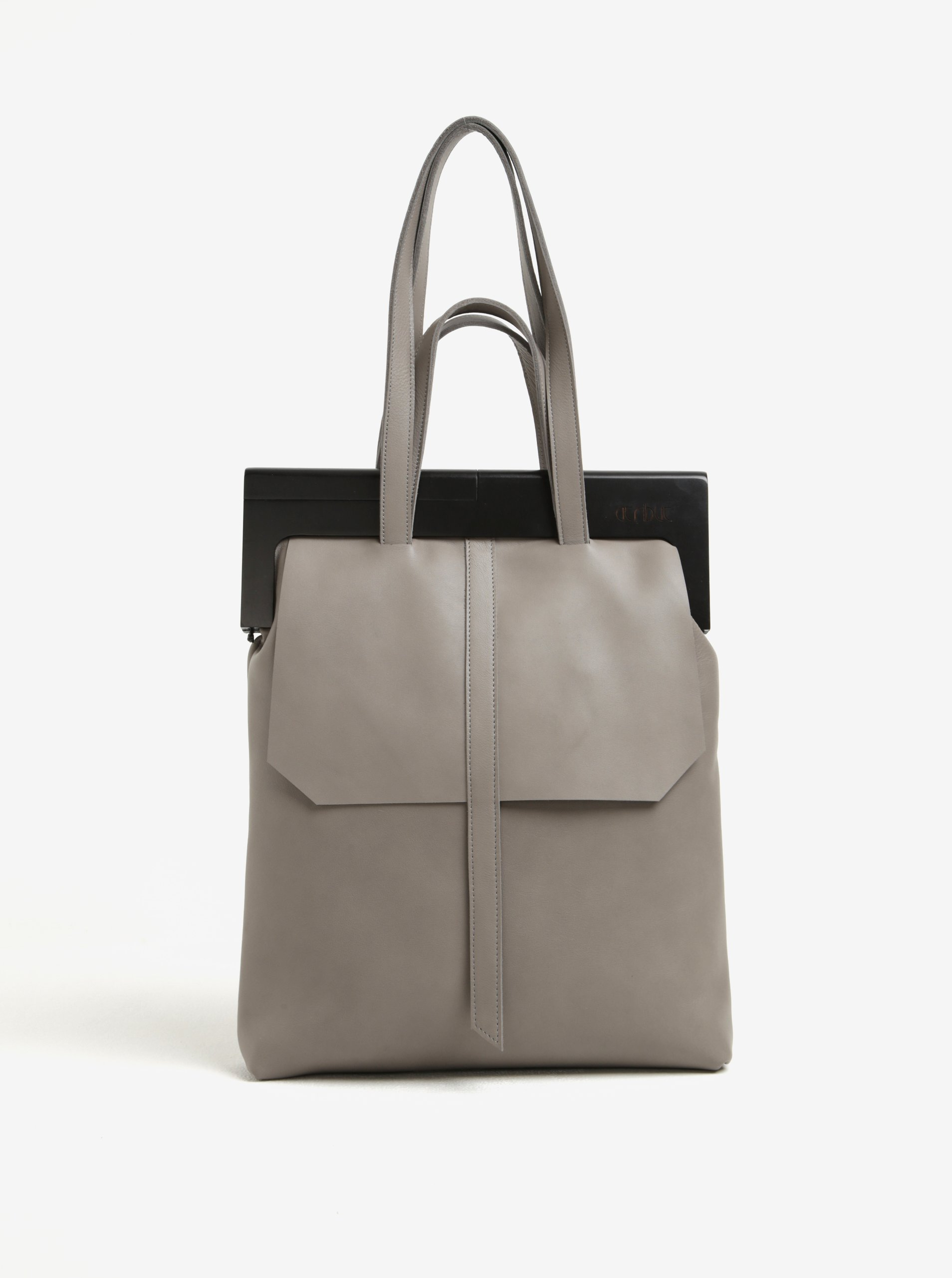 Šedá kožená kabelka s dřevěným rámem Atribut