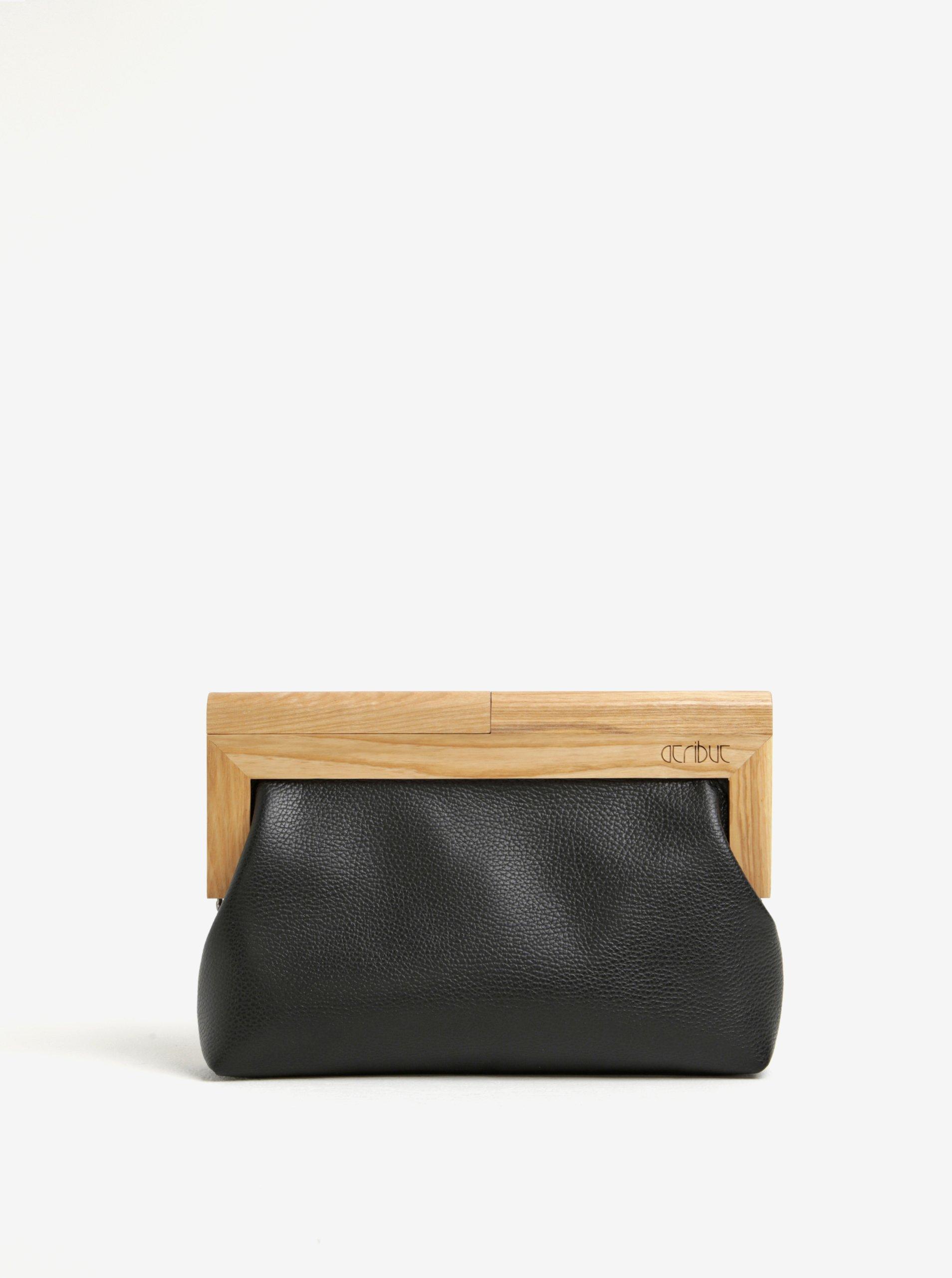 Černé kožené psaníčko s dřevěným rámem v přírodní barvě Atribut
