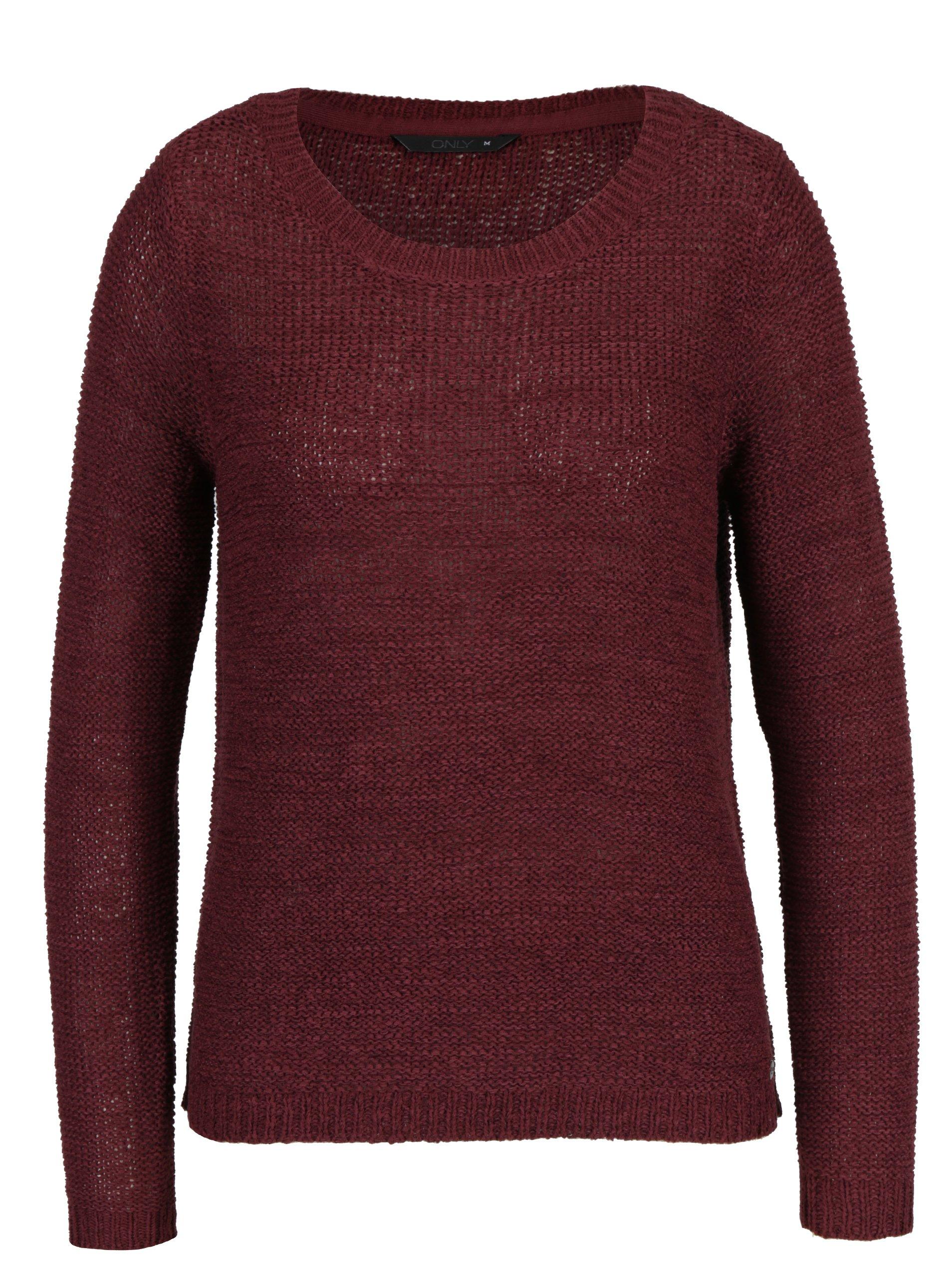 Vínový pletený svetr ONLY Geena