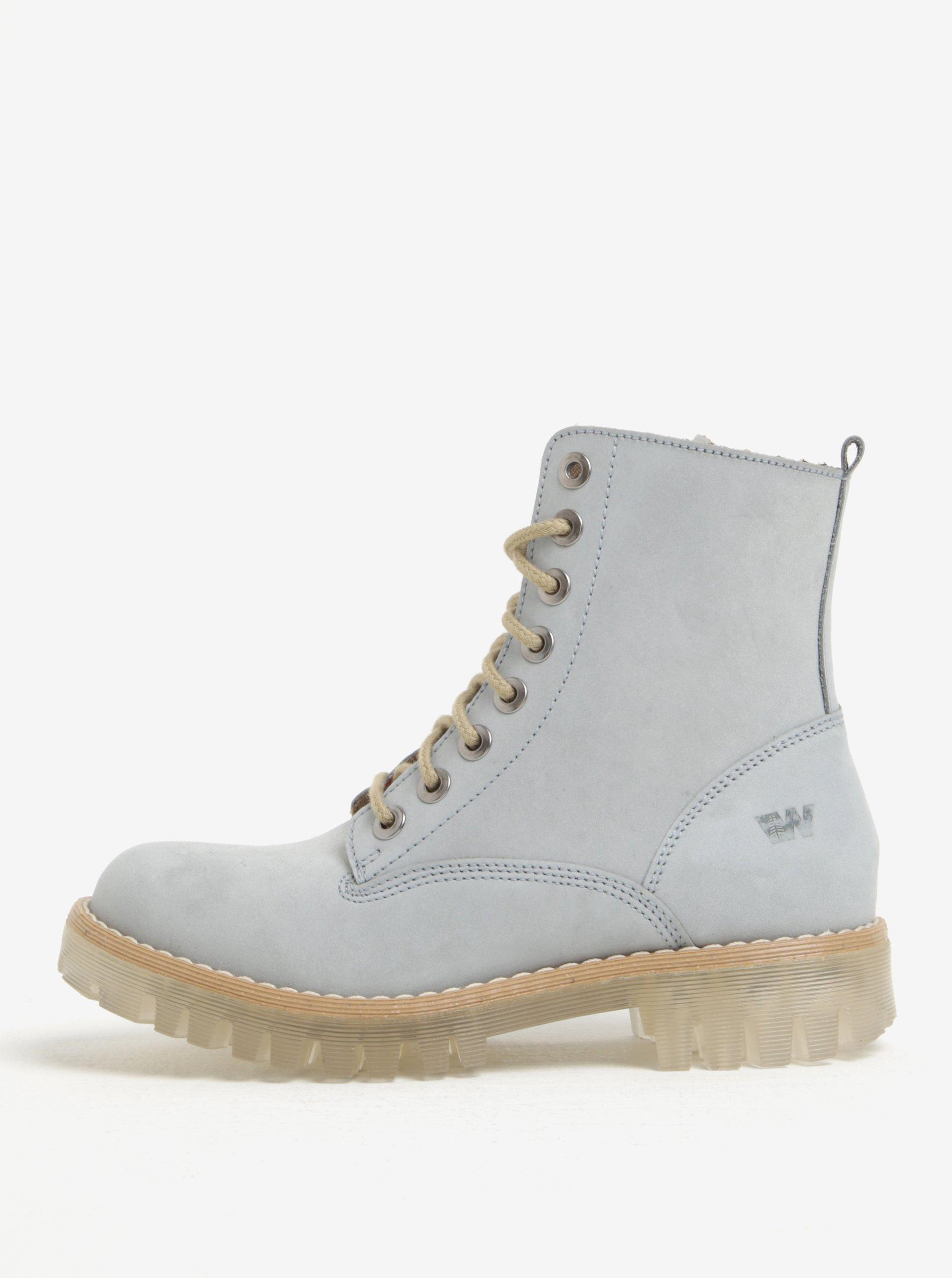 Světle modré dámské semišové kotníkové boty Weinbrenner