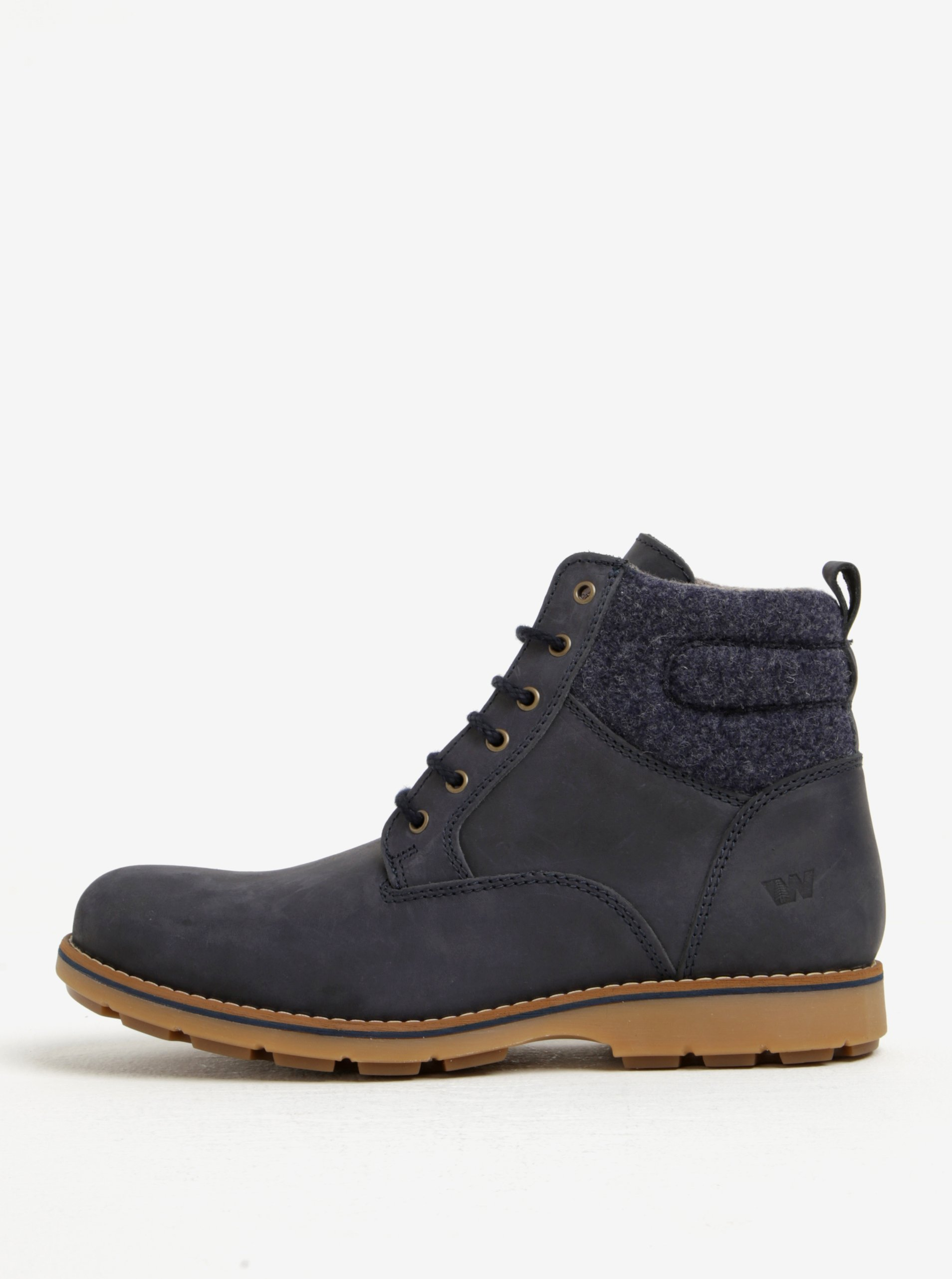 Tmavě modré pánské kožené kotníkové boty Weinbrenner