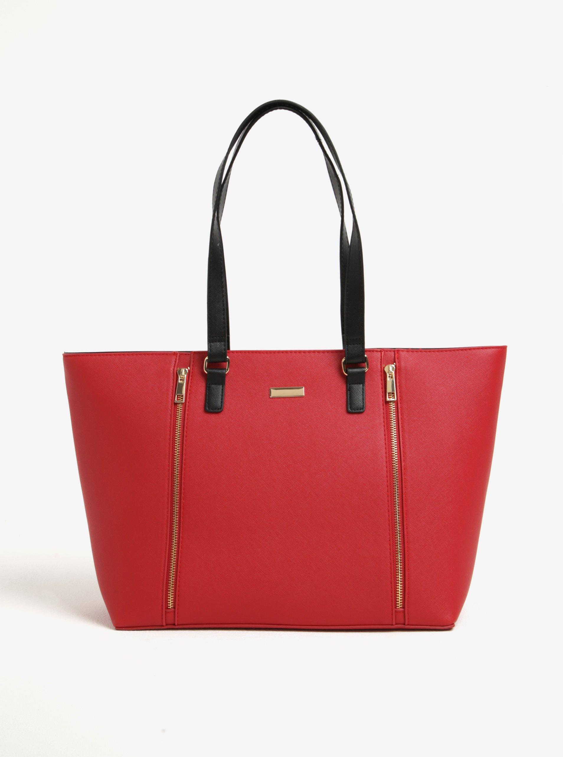 Červená velká kabelka se zipy ve zlaté barvě M&Co