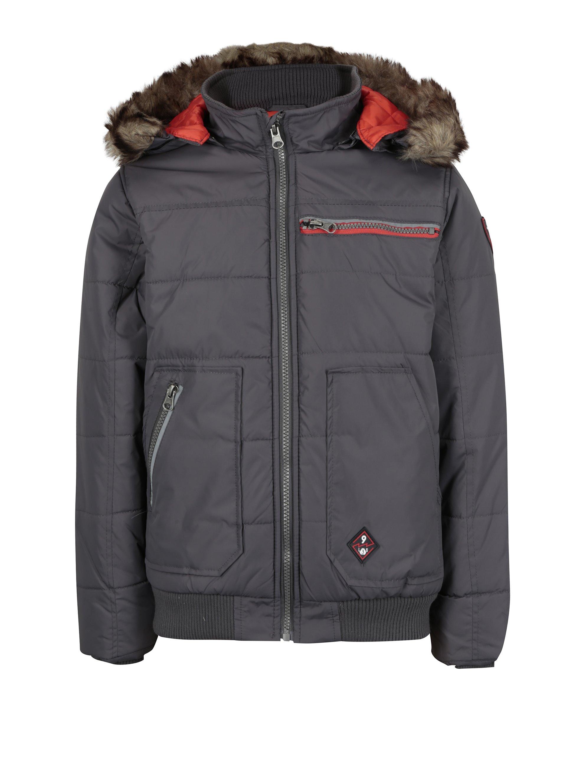 Hnědá klučičí prošívaná zimní bunda s umělým kožíškem 5.10.15.