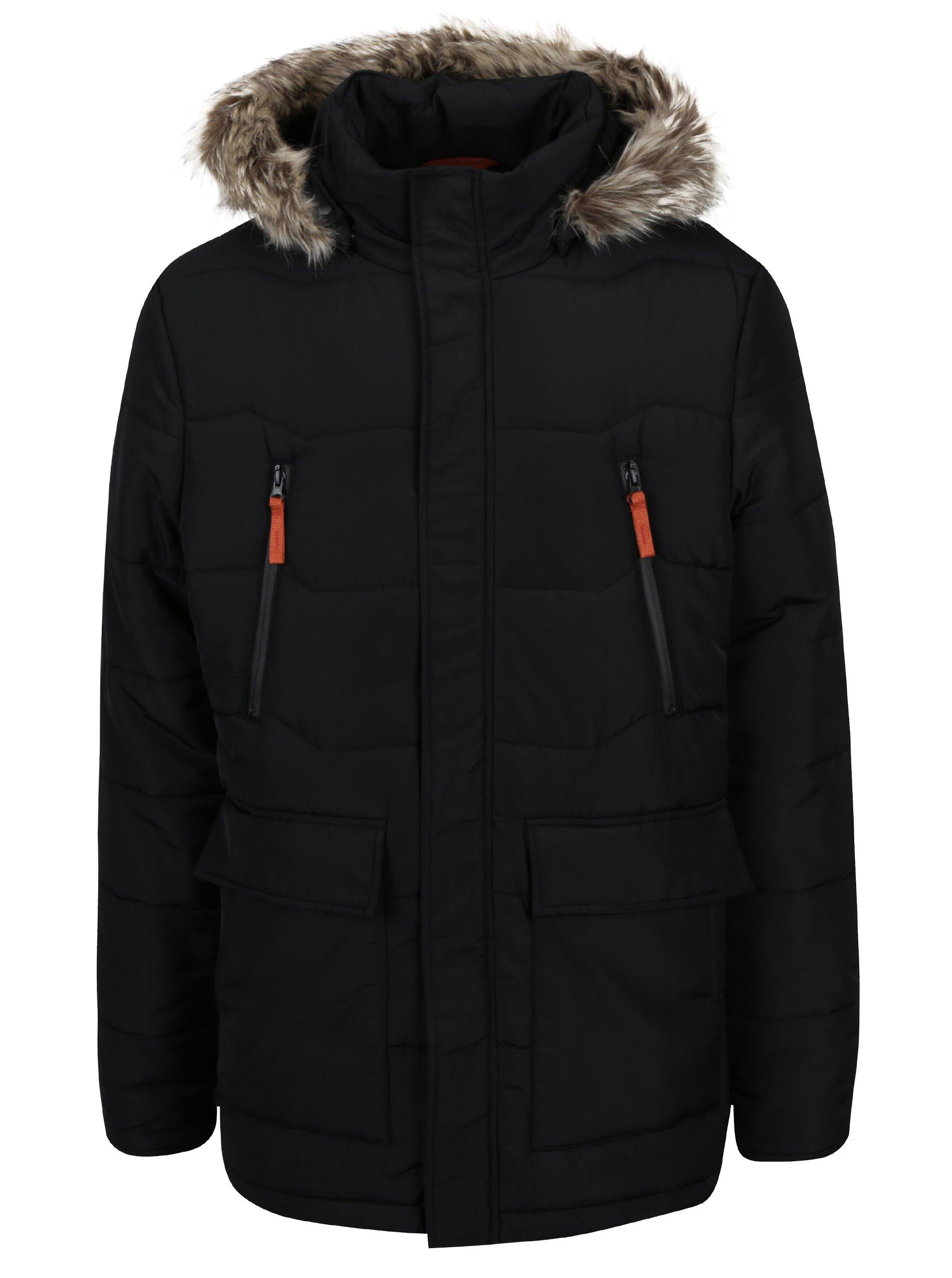 Čierna pánska zimná vodoodpudivá prešívaná bunda s kapucňou a umelým kožúškom LOAP Tron