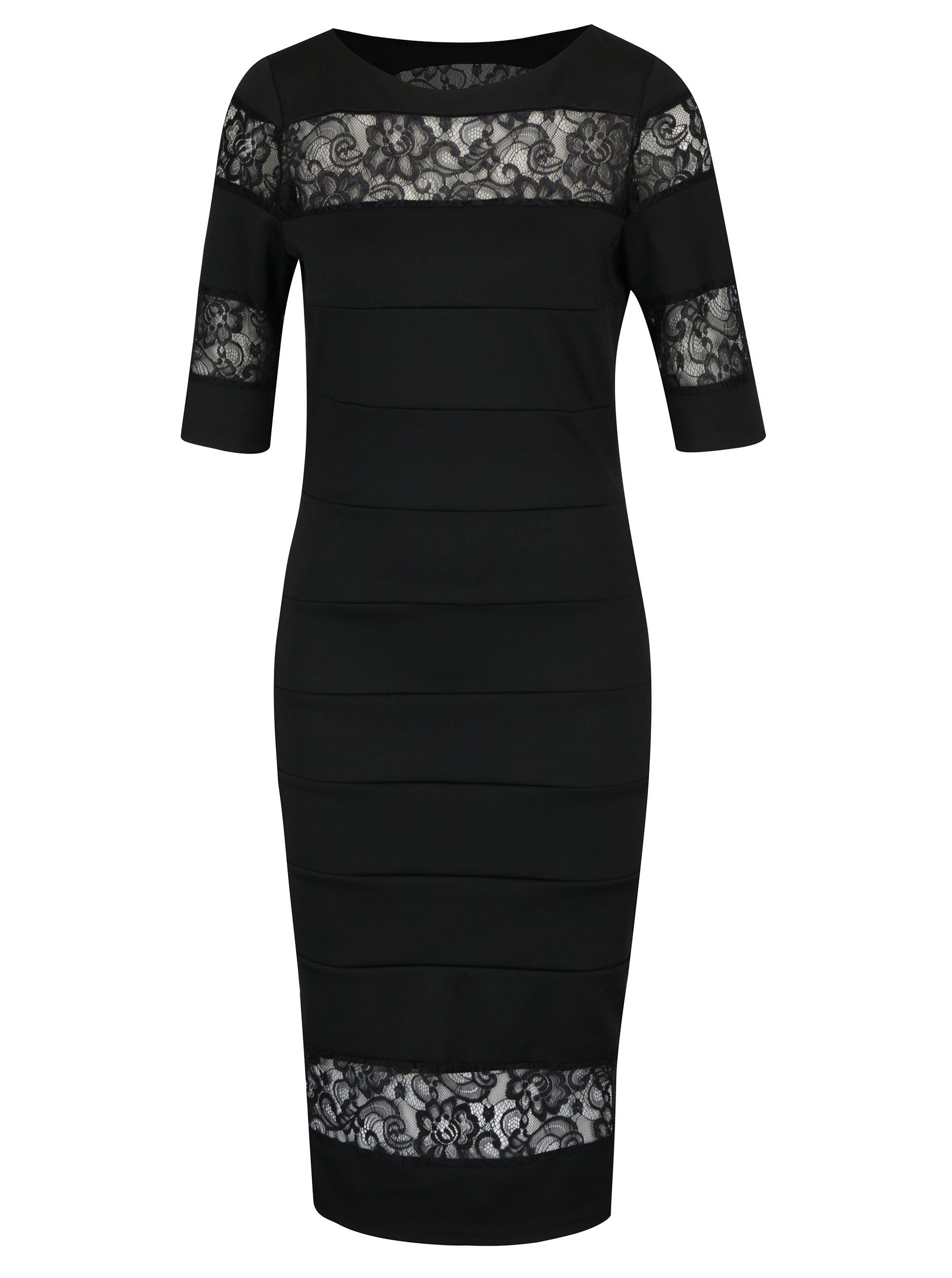 Černé pouzdrové šaty s krajkou Paper Dolls