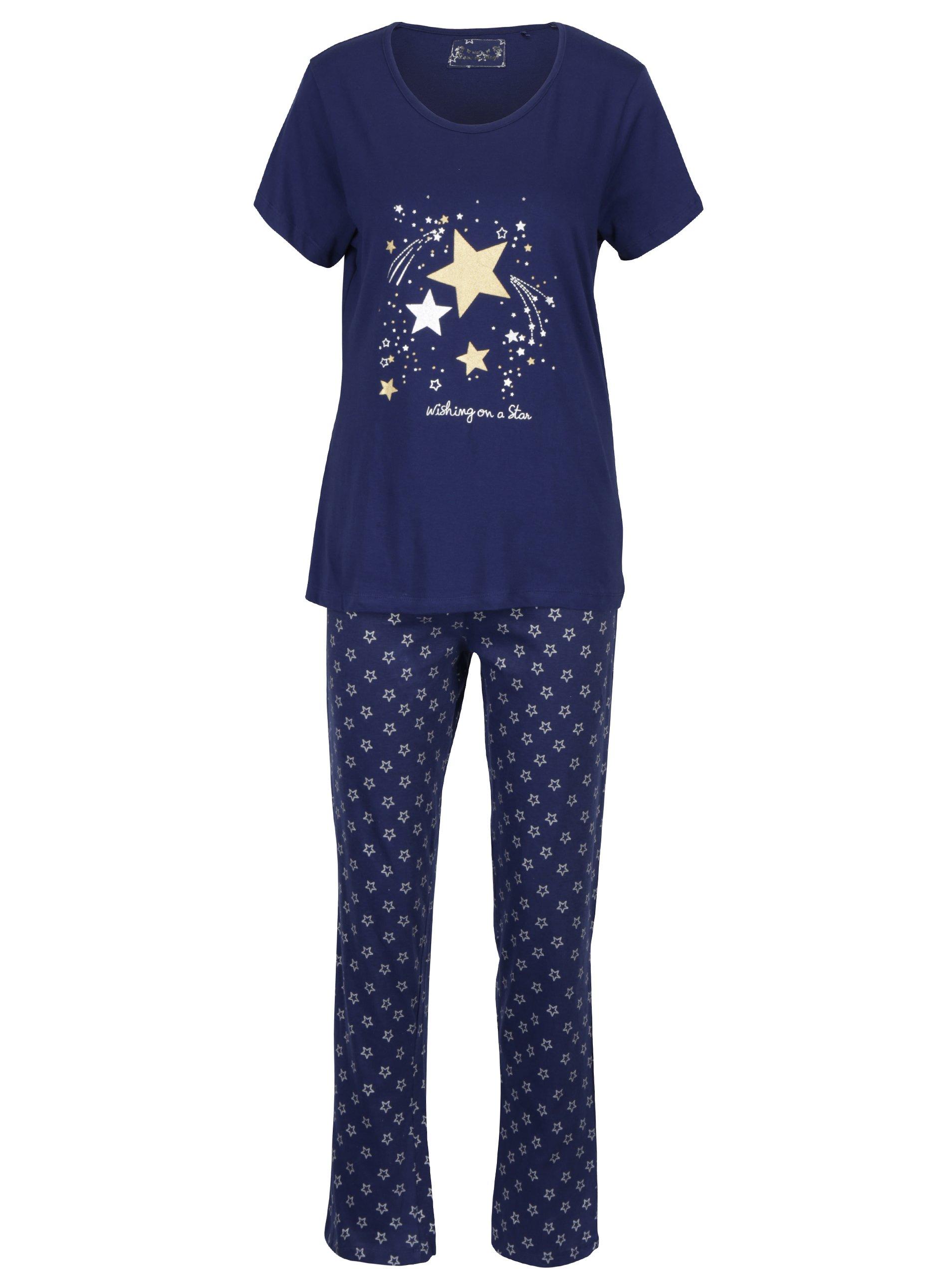Tmavě modré dámské pyžamo s hvězdami M&Co