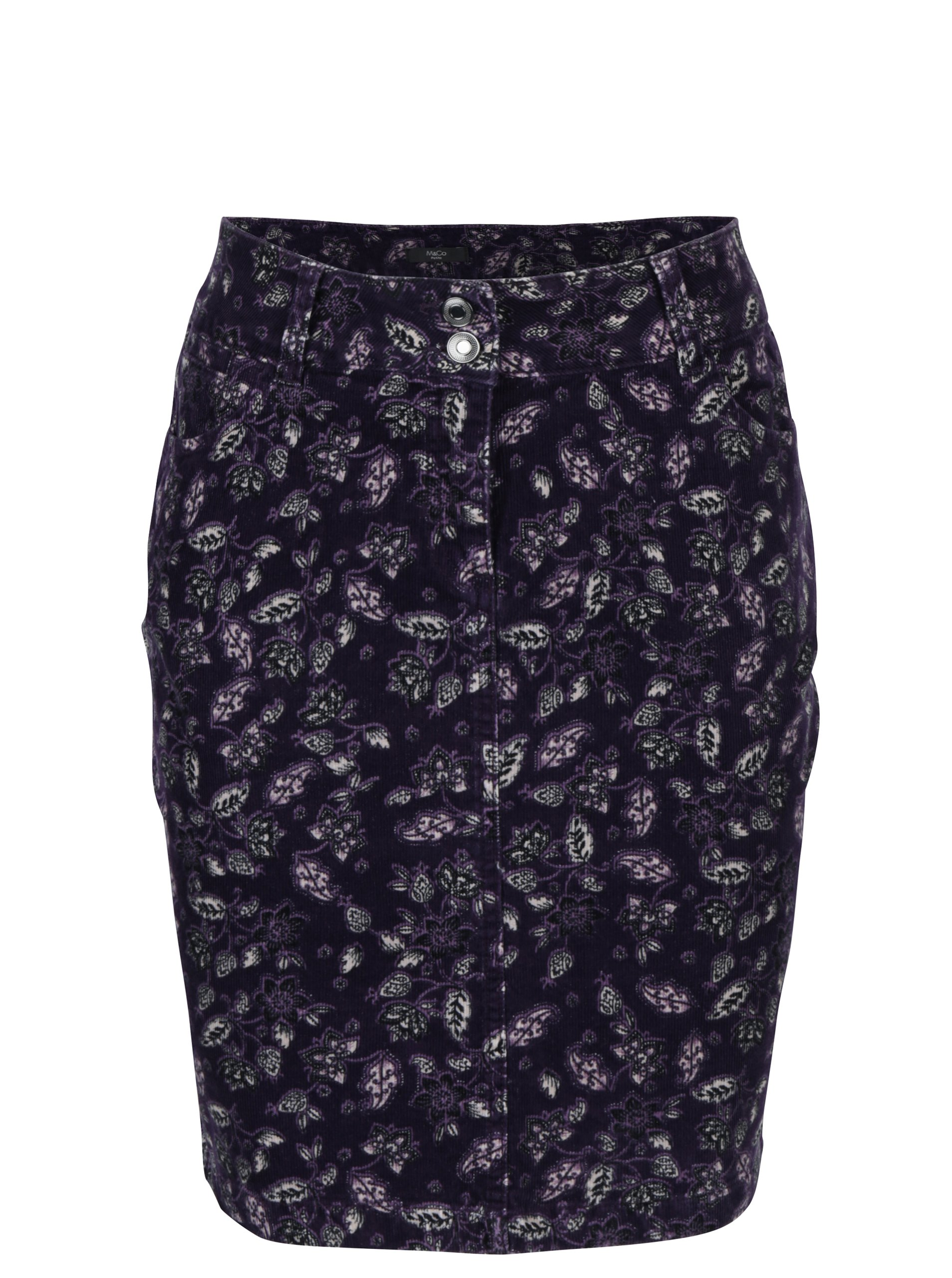 Fialová květovaná manšestrová sukně M&Co