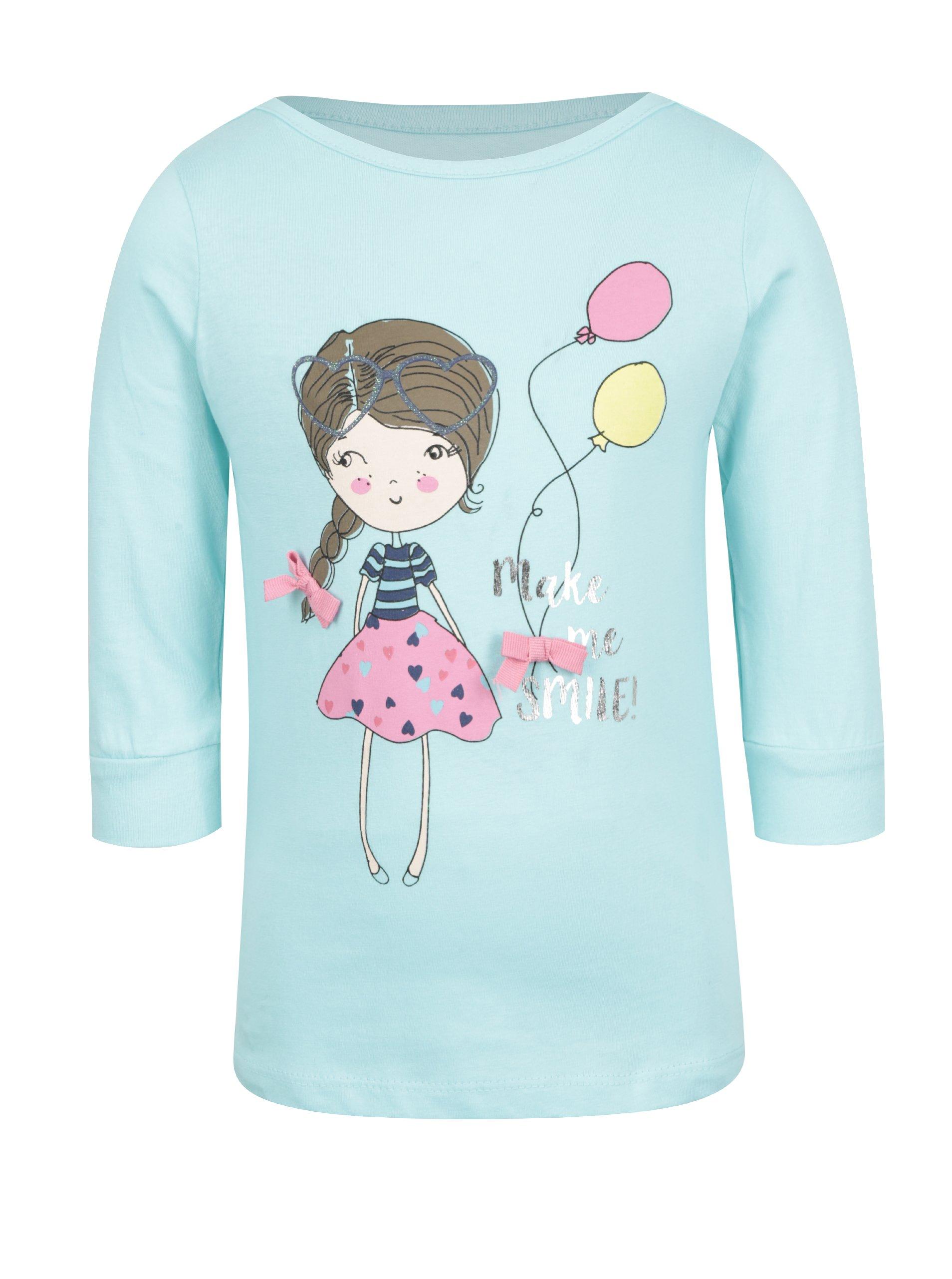 Tyrkysové holčičí tričko s potiskem a 3/4 rukávem 5.10.15.