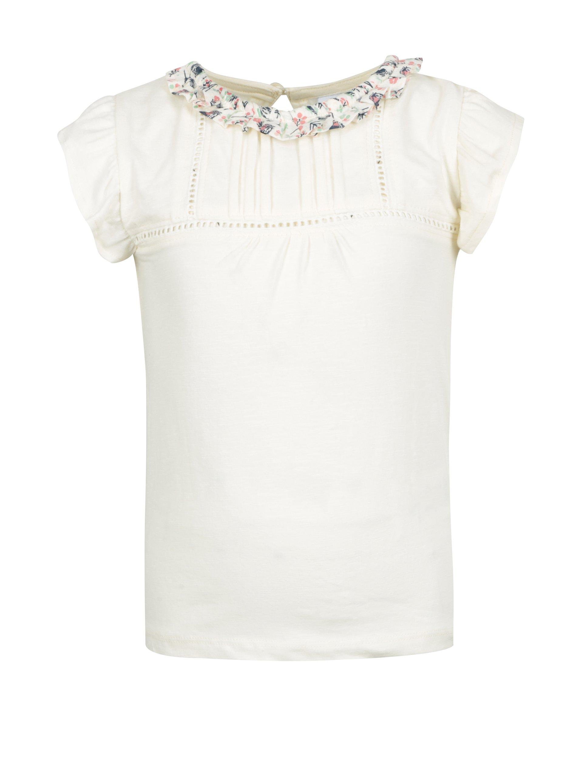 Krémové holčičí tričko s barevným volánkem 5.10.15.