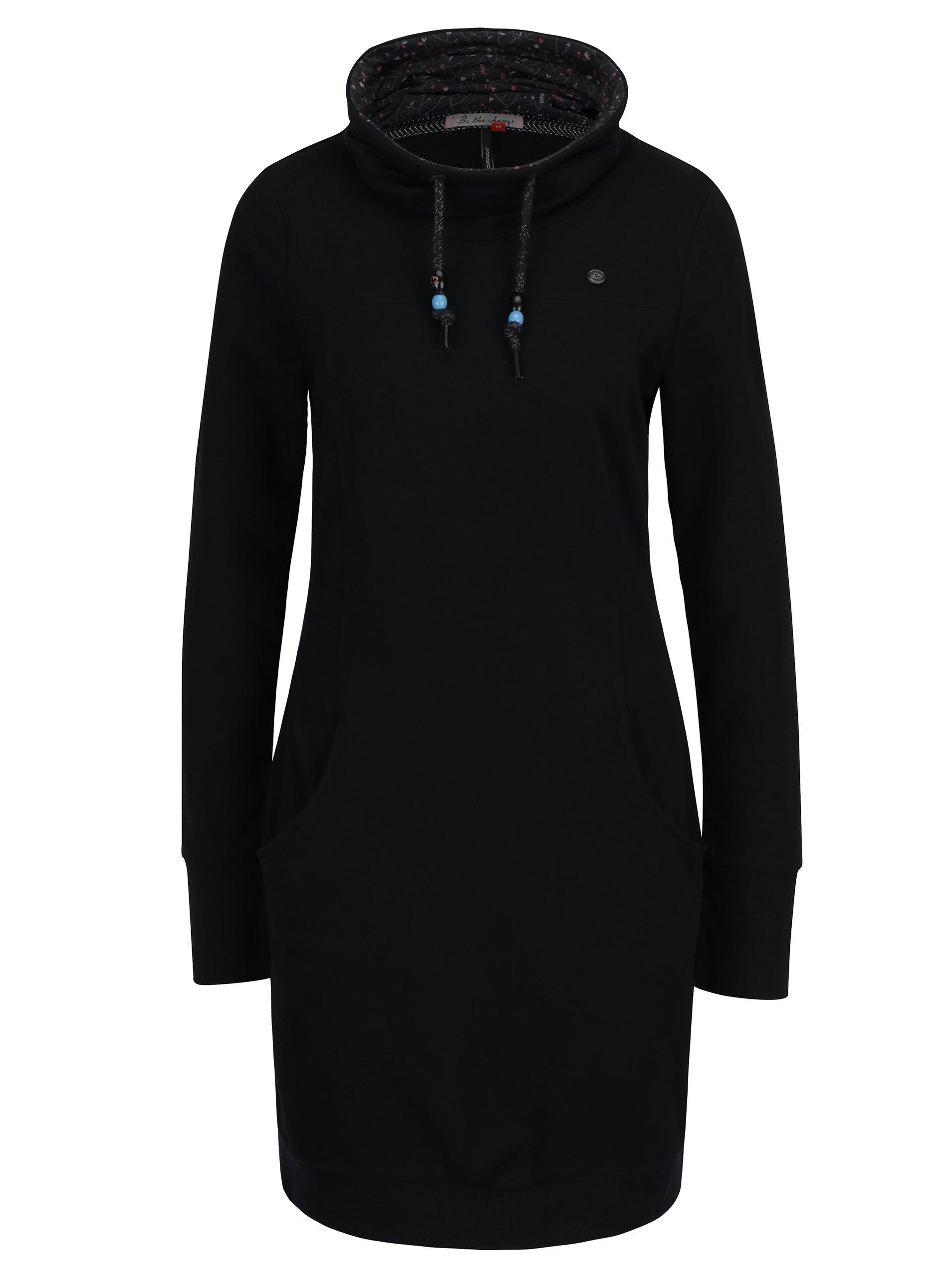 Černé mikinové šaty s vysokým límcem a kapsami Ragwear Dita